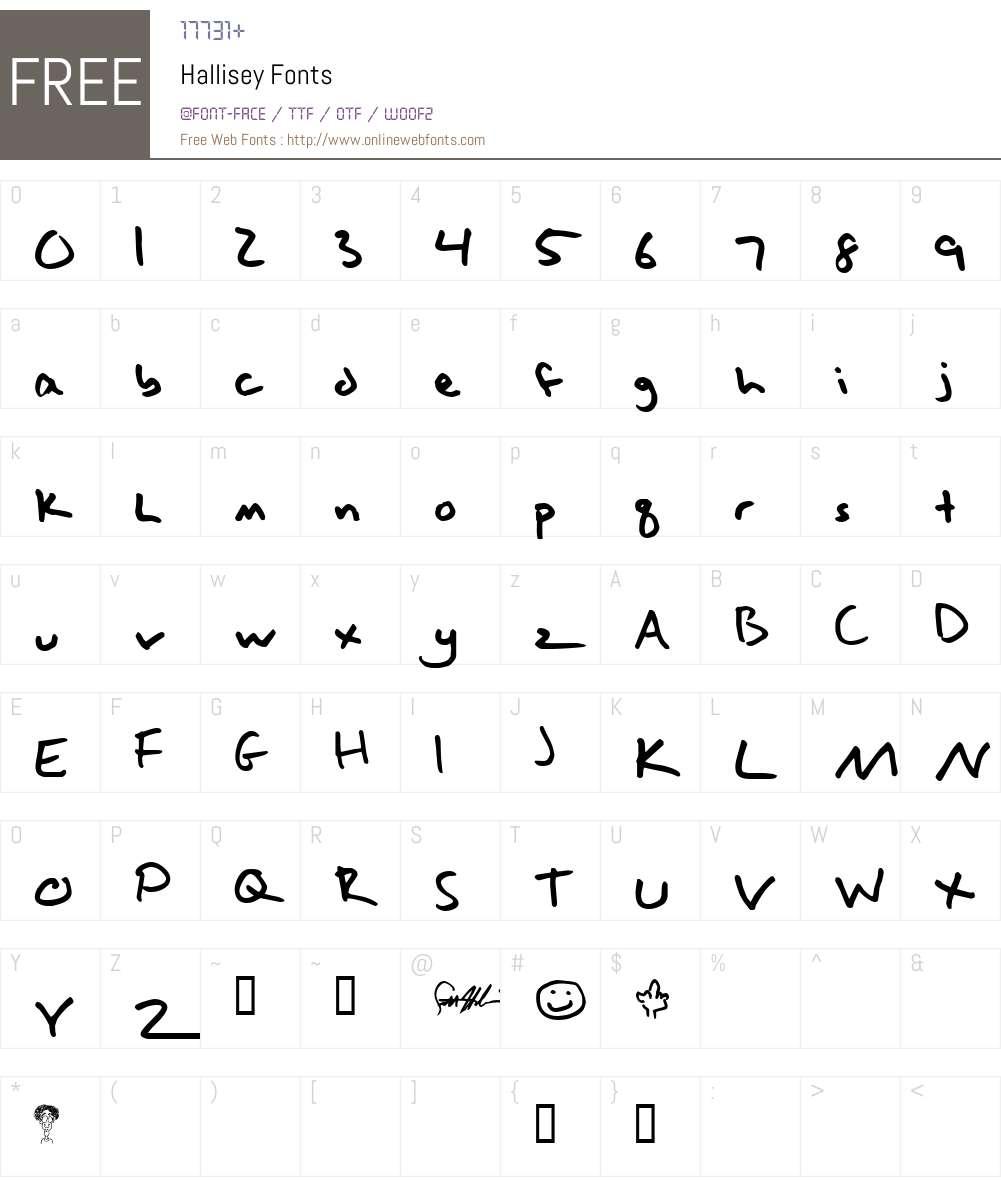 Hallisey Font Screenshots