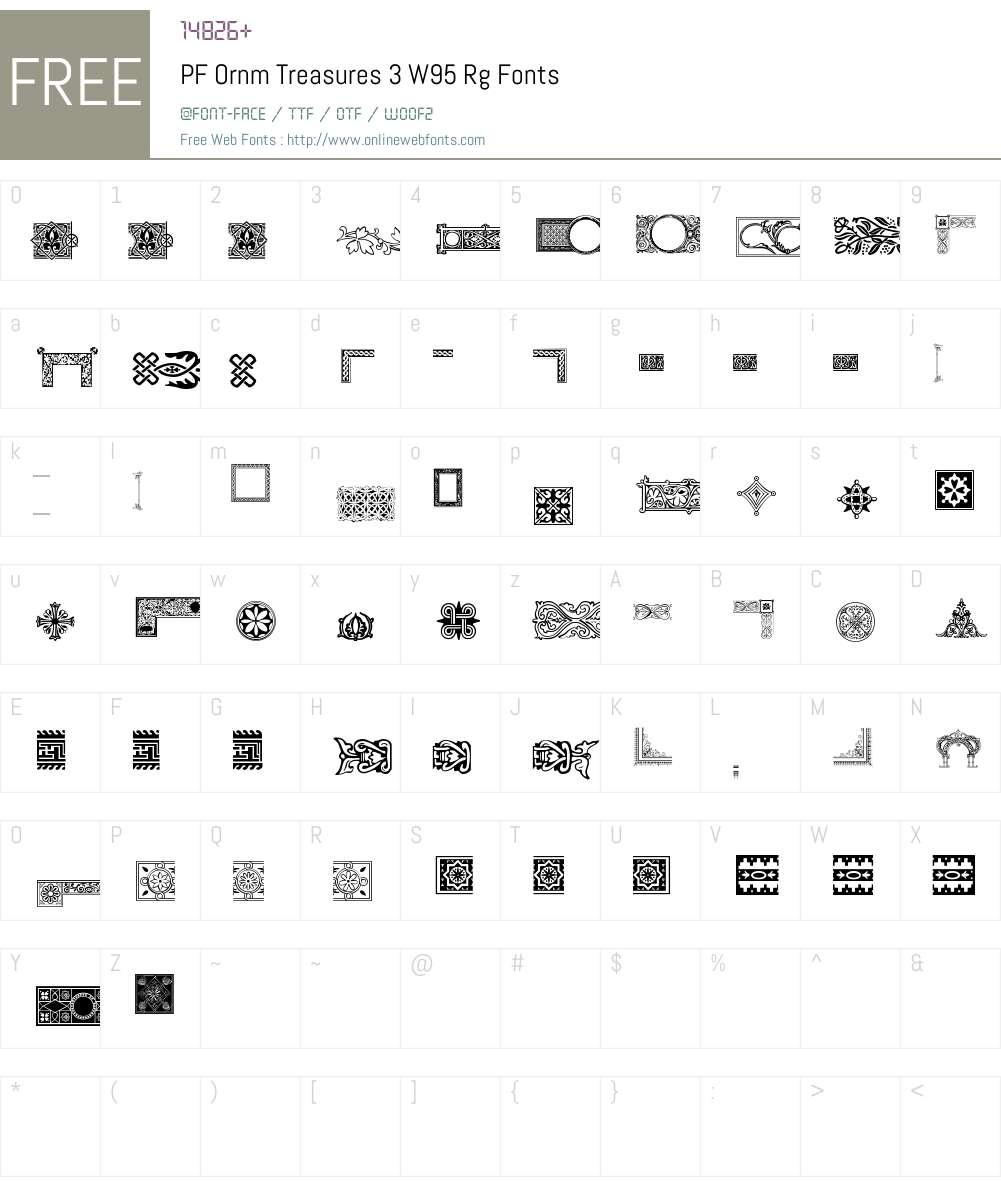 PFOrnmTreasures3W95-Regular Font Screenshots