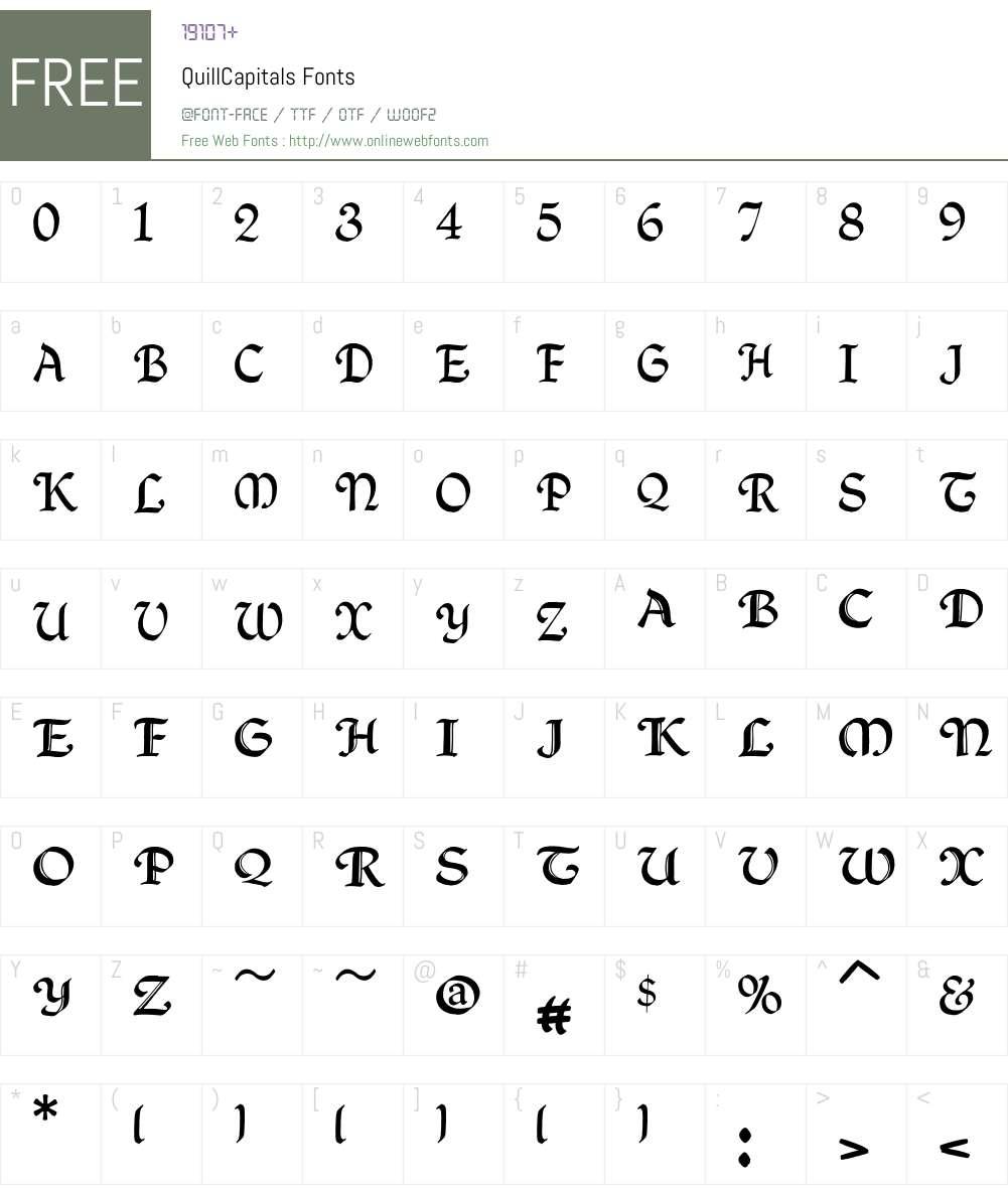 QuillCapitals Font Screenshots
