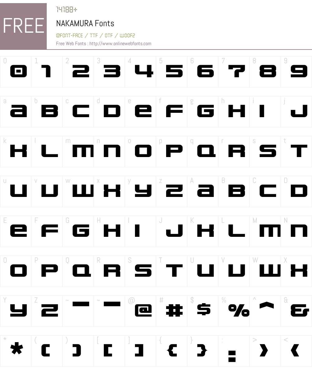 NAKAMURA Font Screenshots