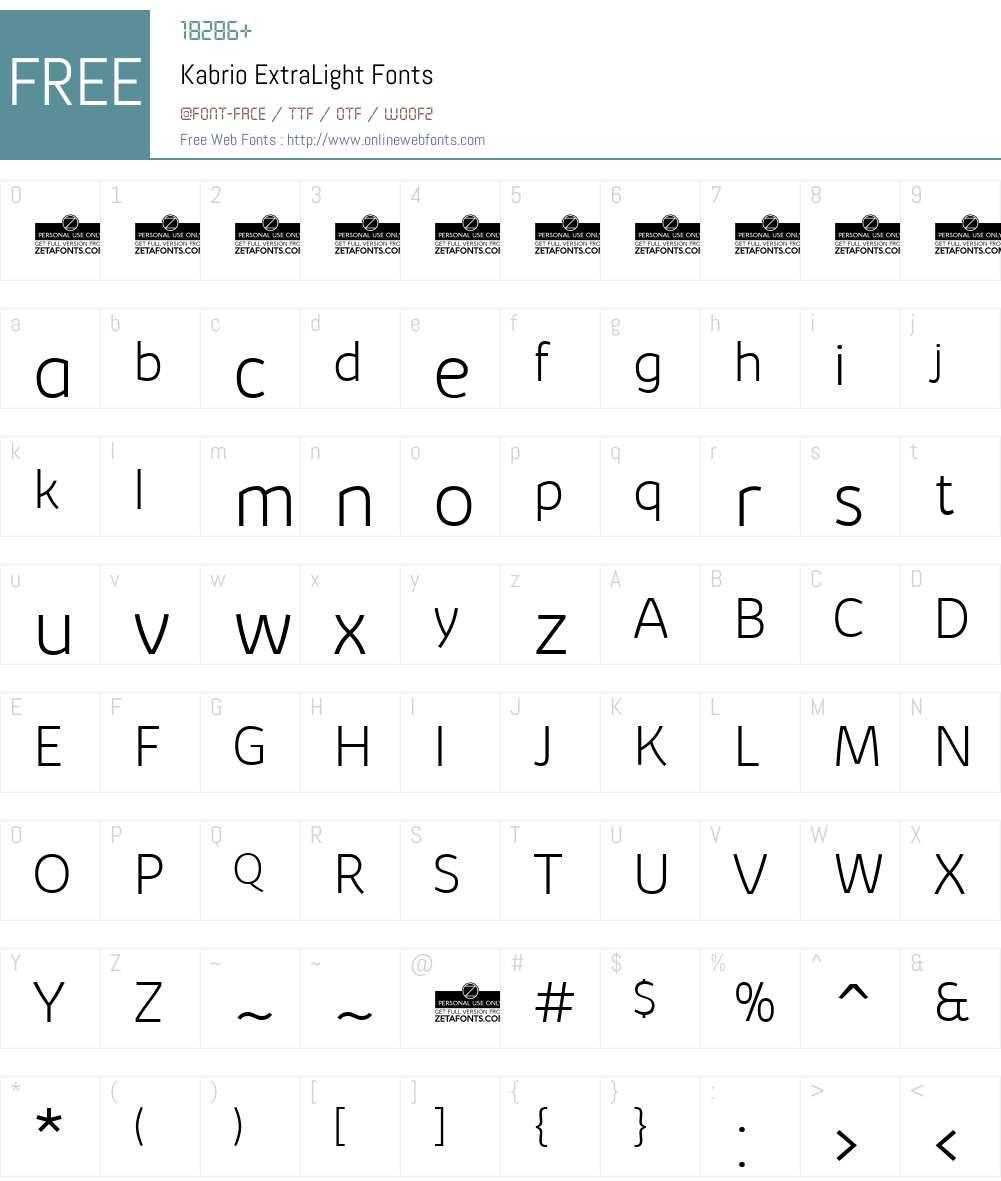 Kabrio Font Screenshots