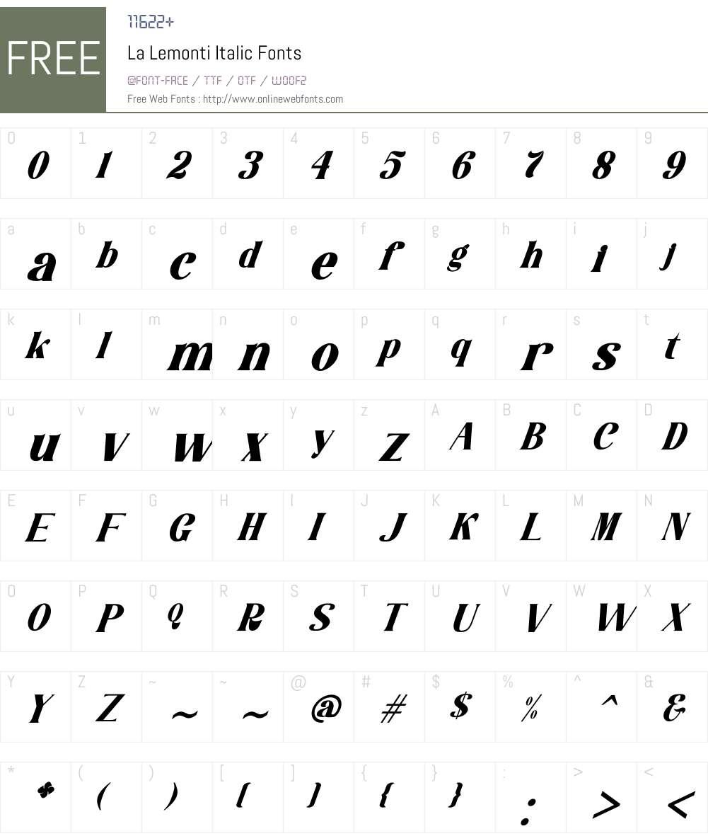 La Lemonti Italic Font Screenshots