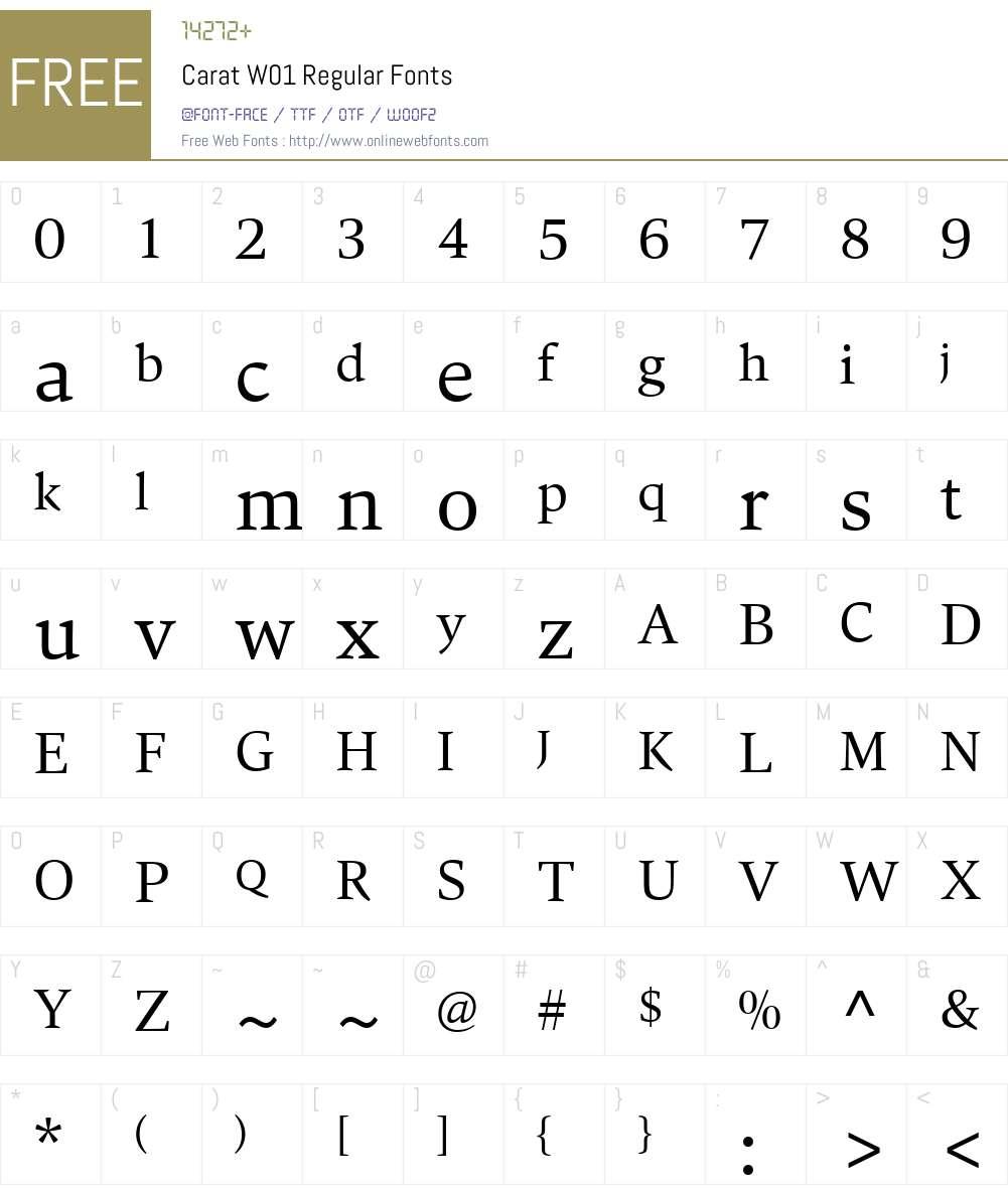 CaratW01-Regular Font Screenshots