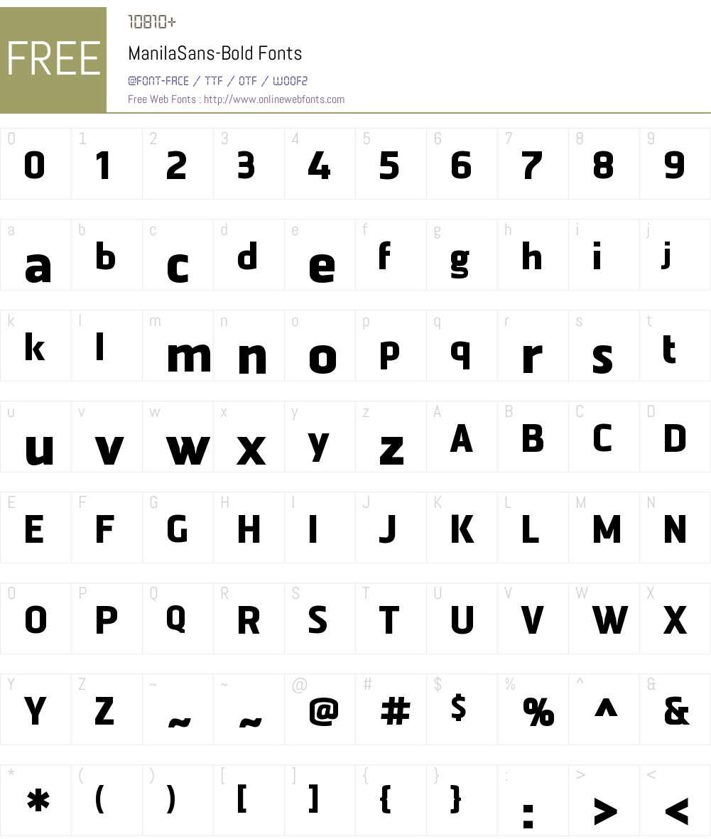 Manila Sans Bold Font Screenshots