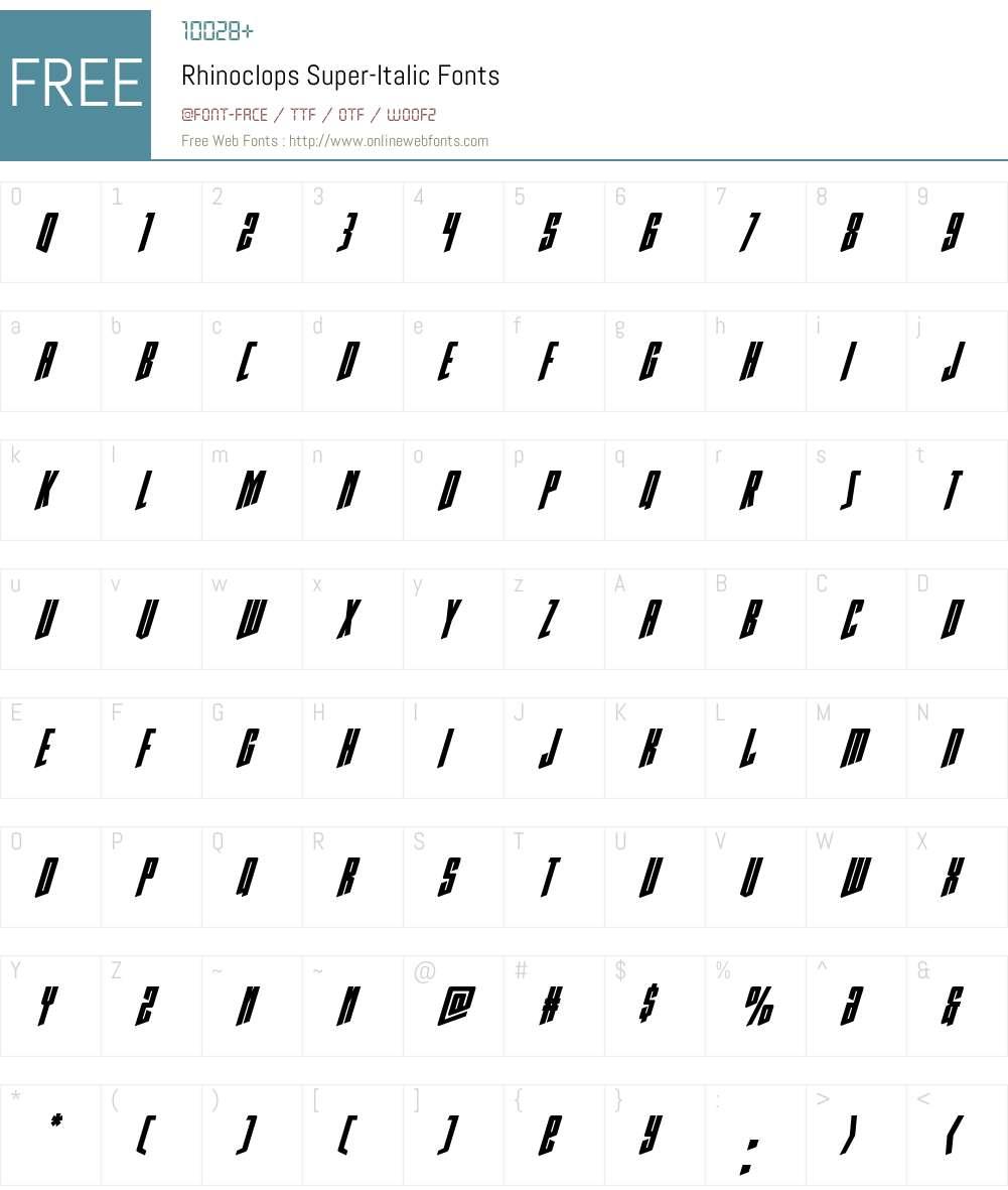 Rhinoclops Super-Italic Font Screenshots