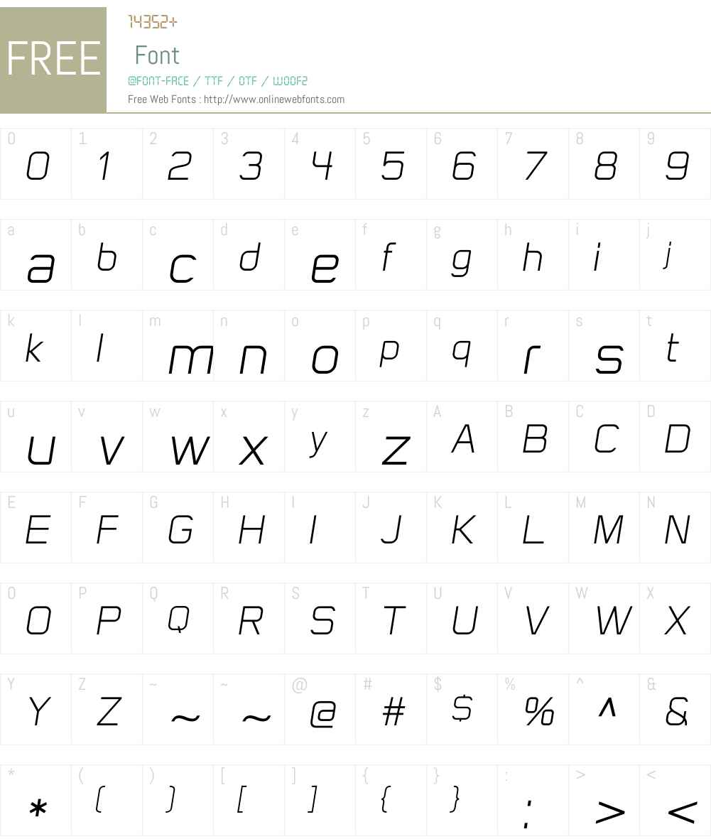 FlatSansLightObliqueW00-Rg Font Screenshots
