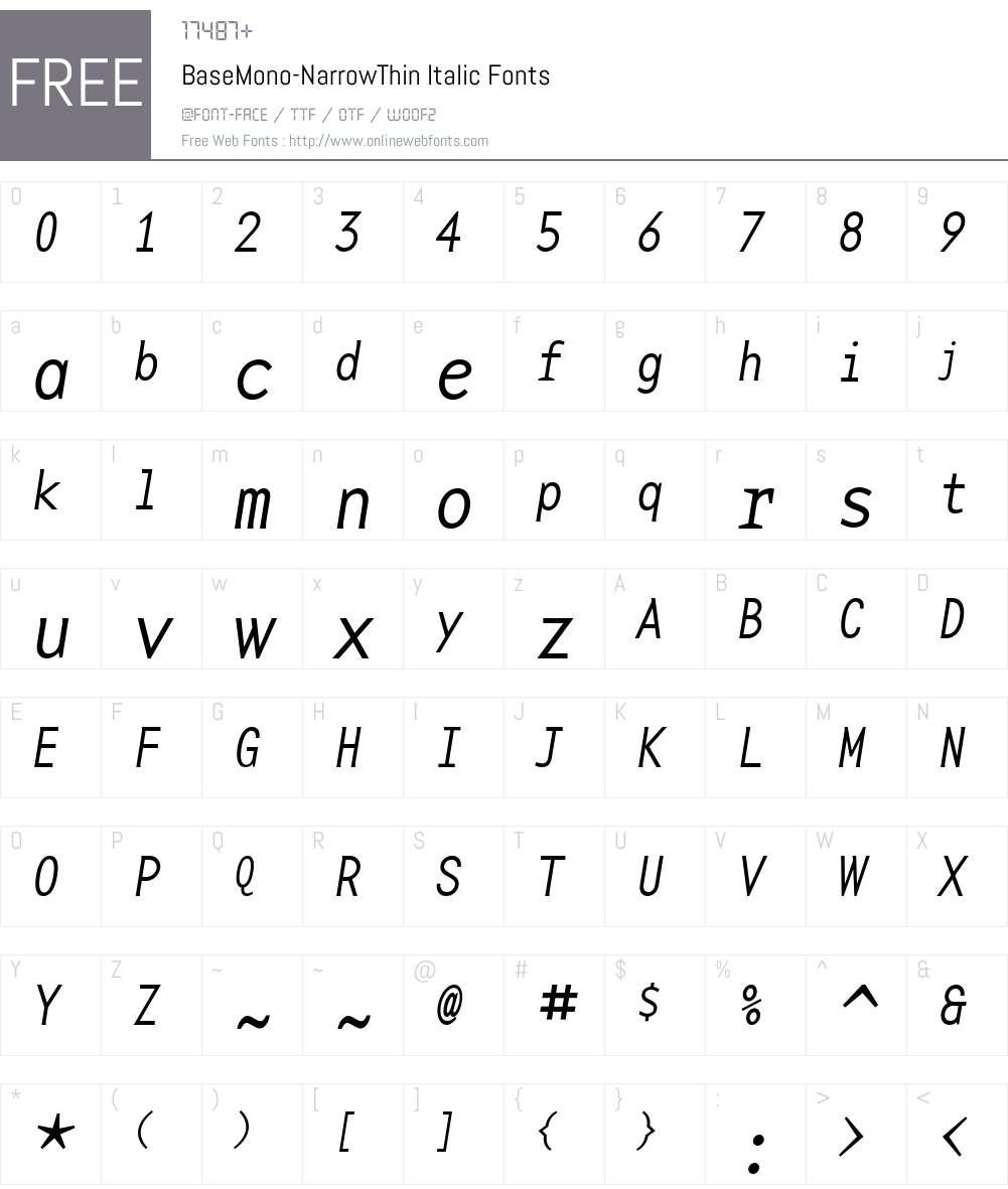 BaseMono-NarrowThin Font Screenshots