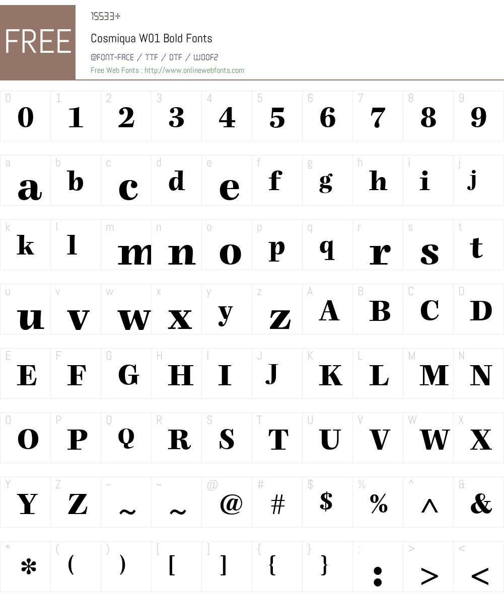 CosmiquaW01-Bold Font Screenshots