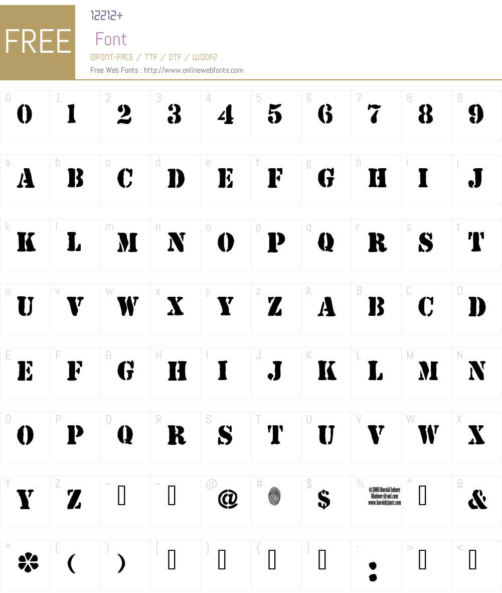 JJStencil Solid Font Screenshots