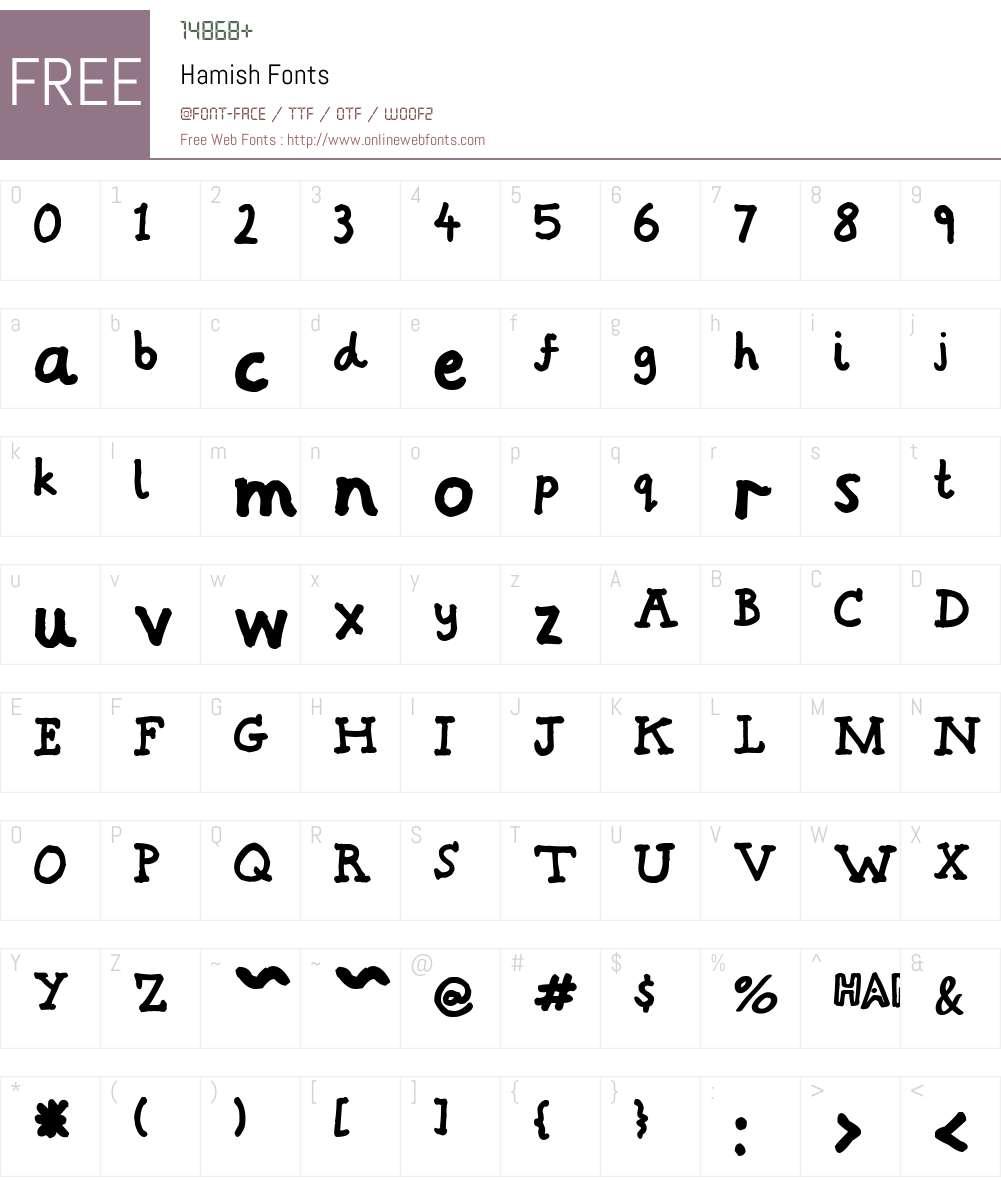 Hamish Font Screenshots