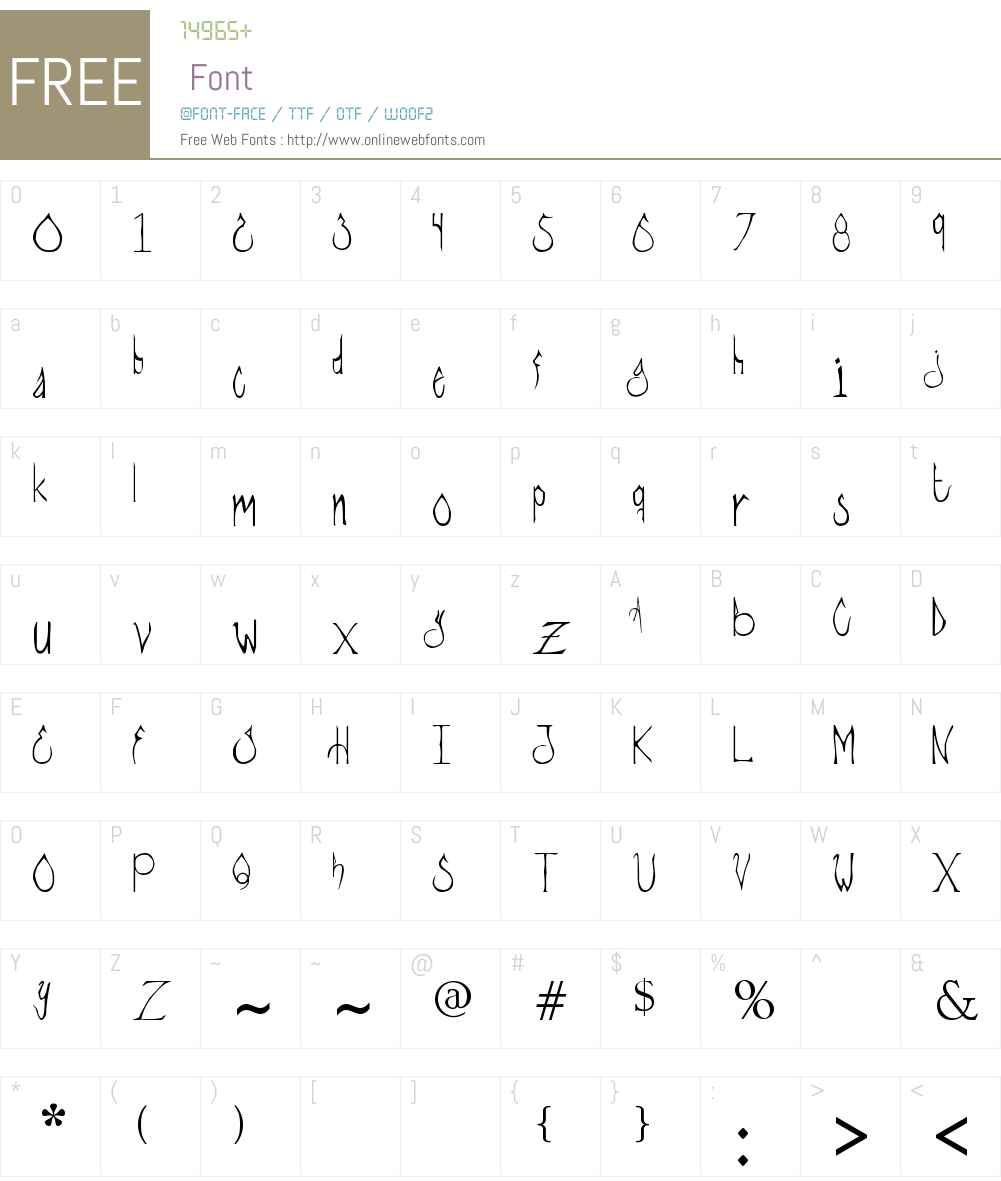 Gore stylus Font Screenshots
