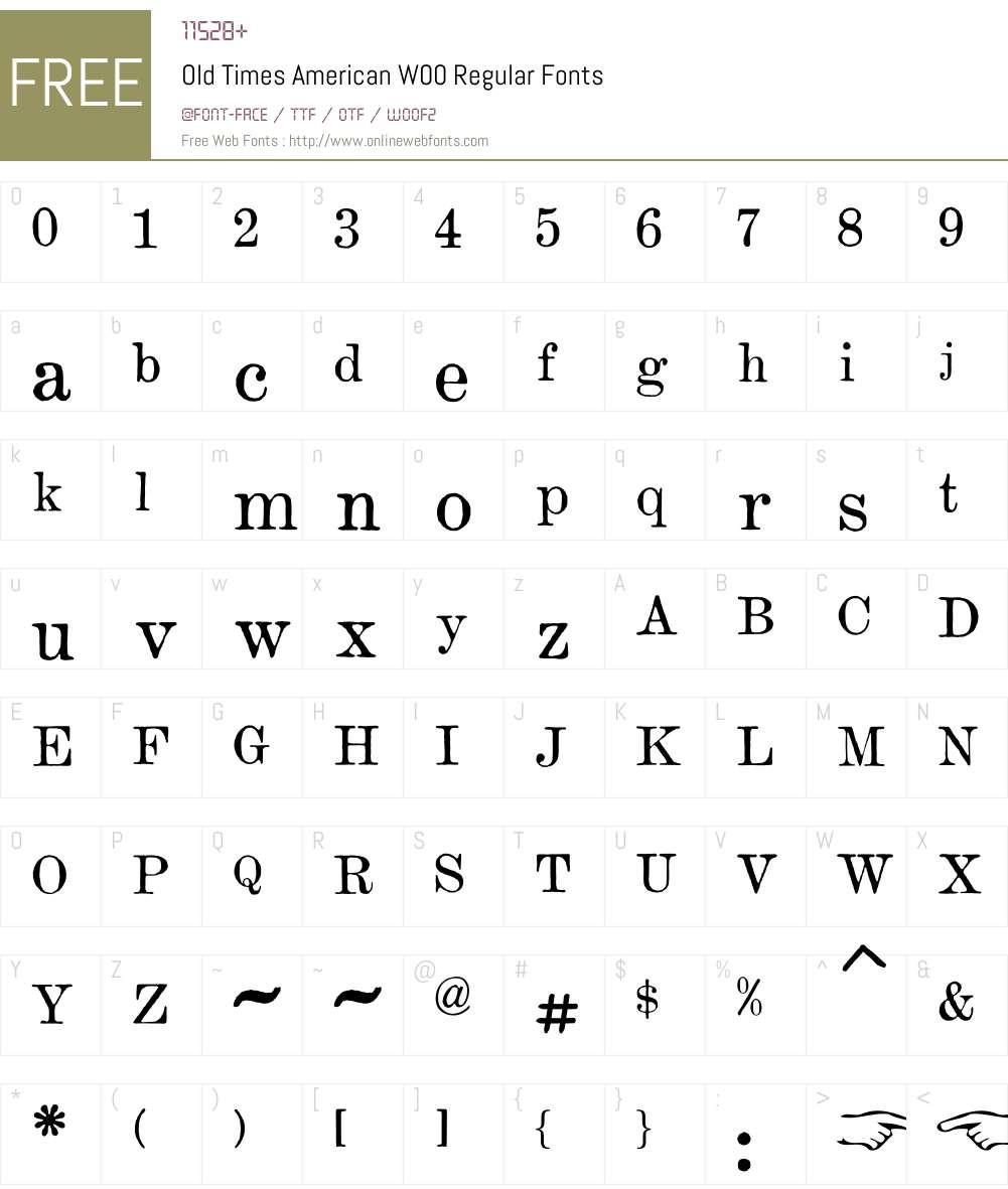 OldTimesAmericanW00-Rg Font Screenshots