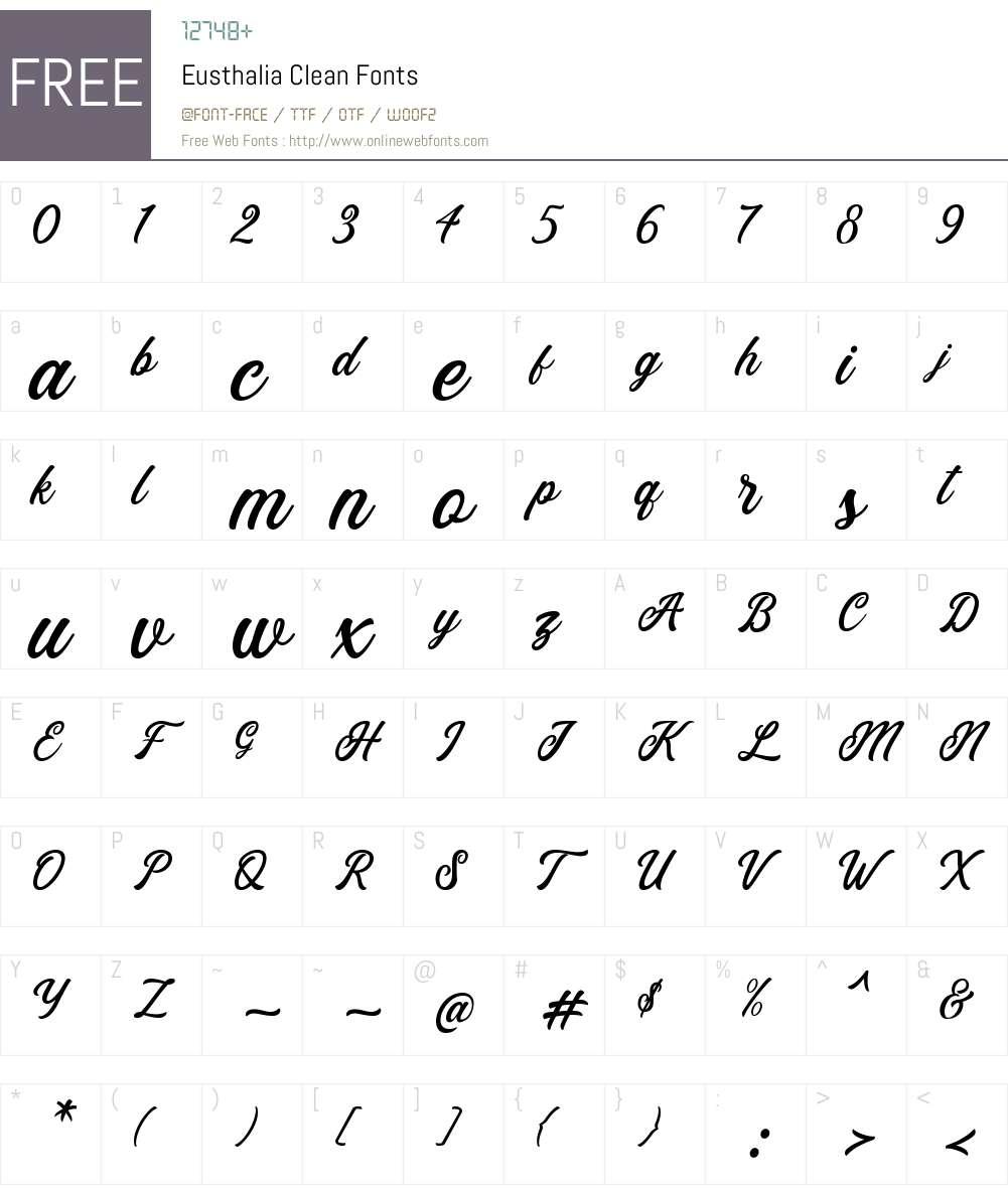 Eusthalia Clean Font Screenshots