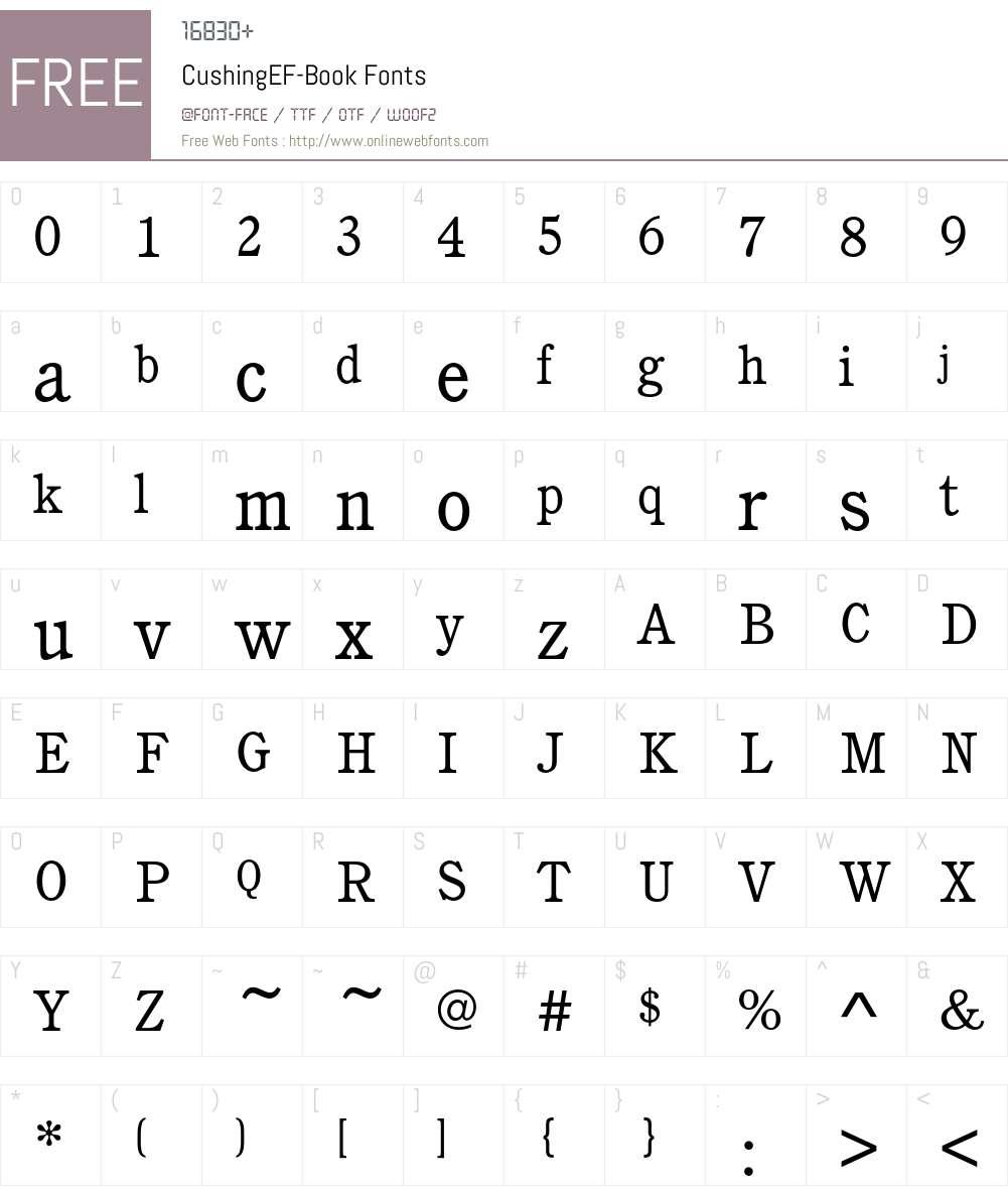 CushingEF-Book Font Screenshots