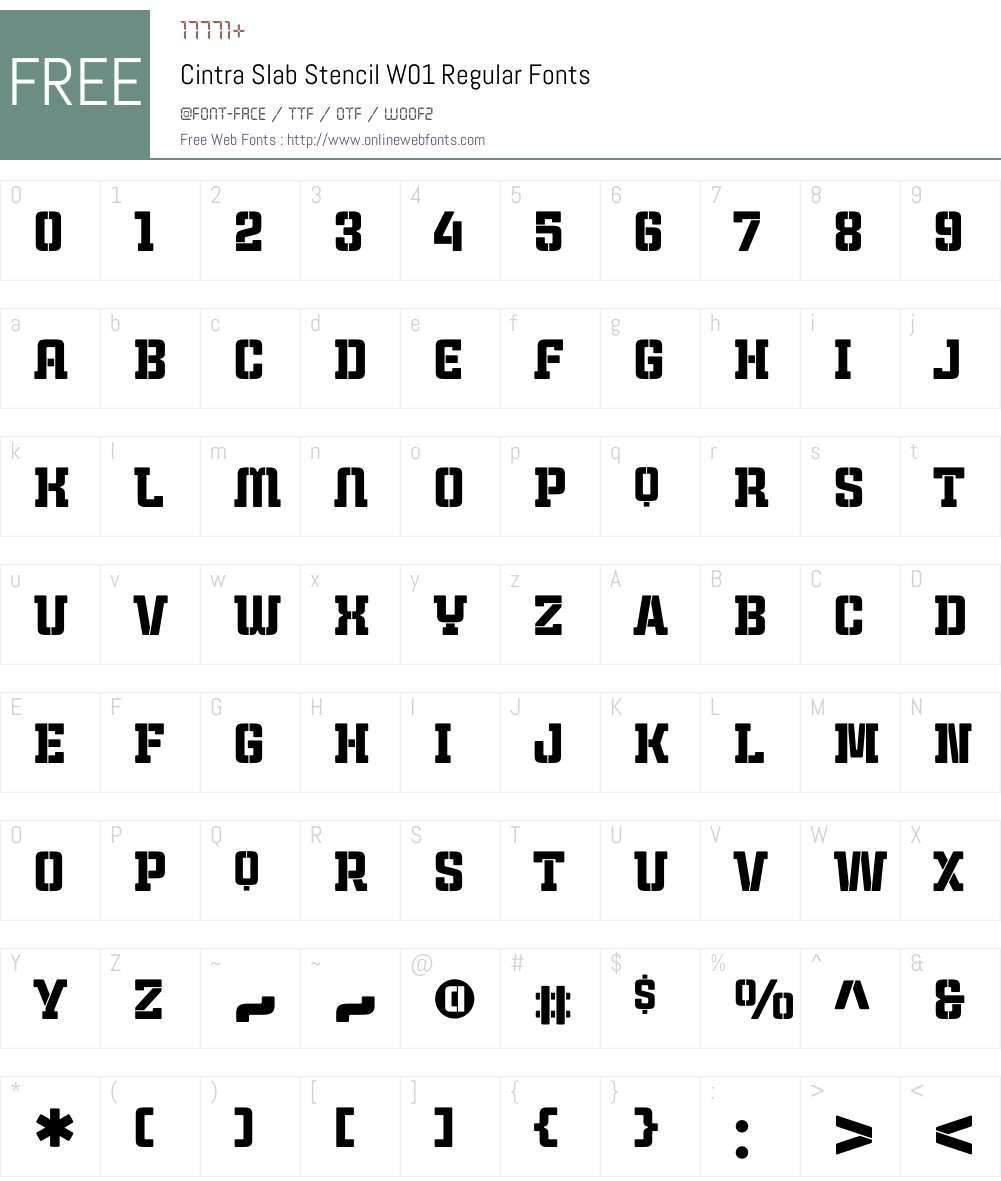 CintraSlabStencilW01-Rg Font Screenshots