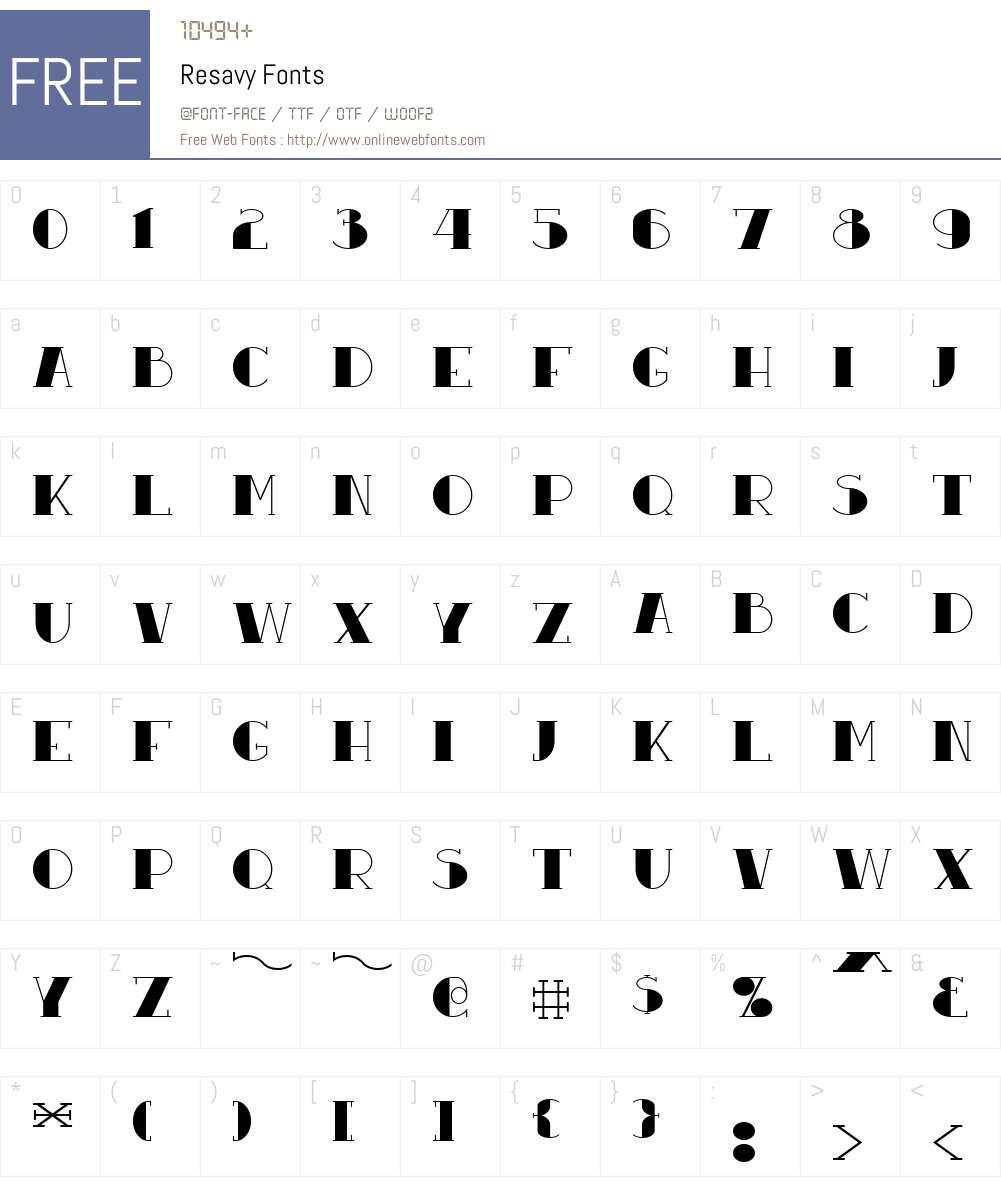 Resavy Font Screenshots