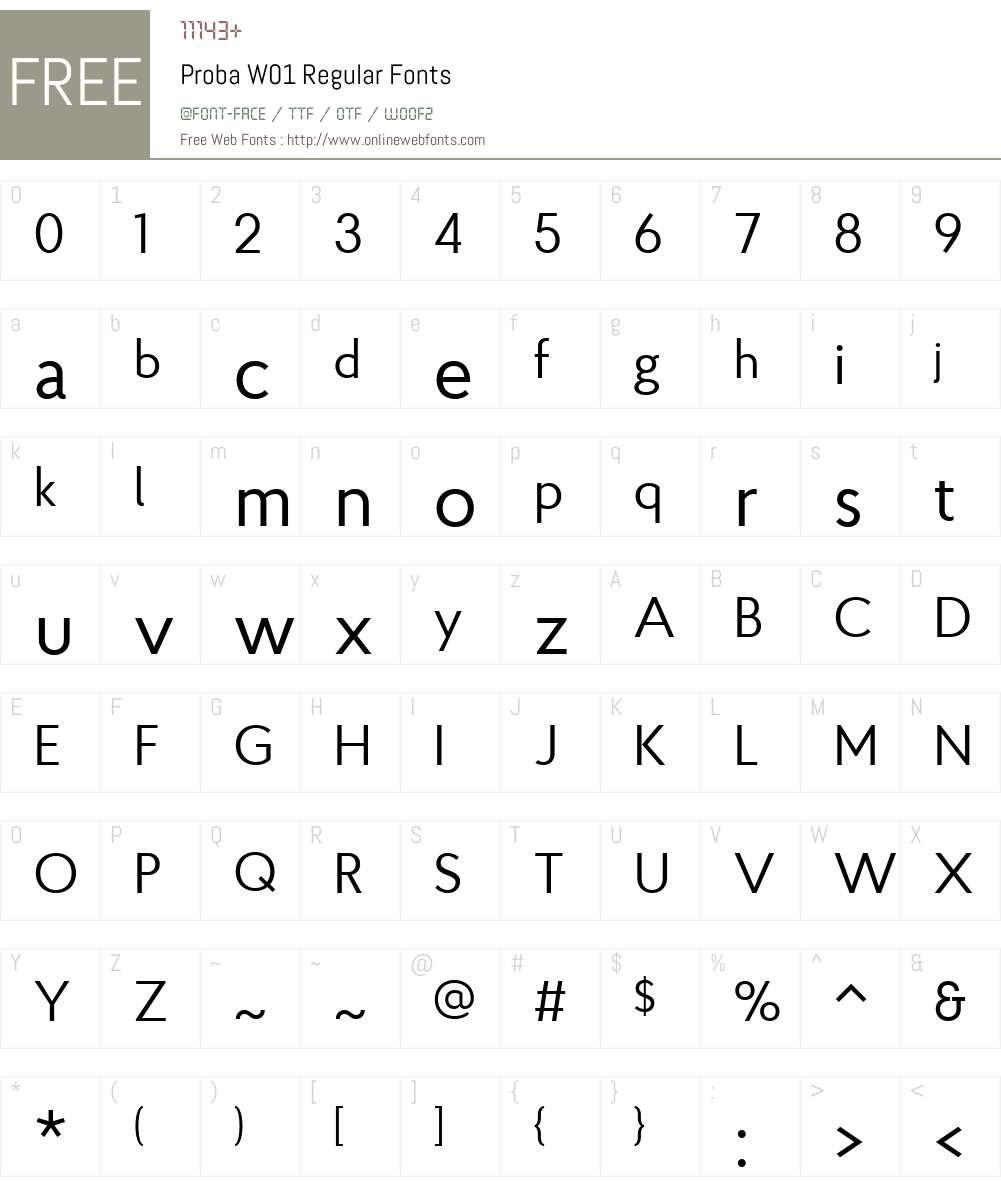 ProbaW01-Regular Font Screenshots