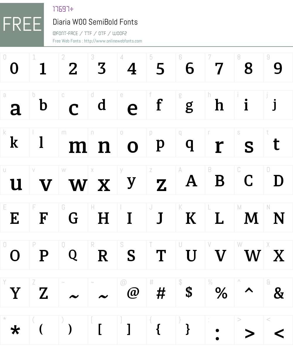 DiariaW00-SemiBold Font Screenshots