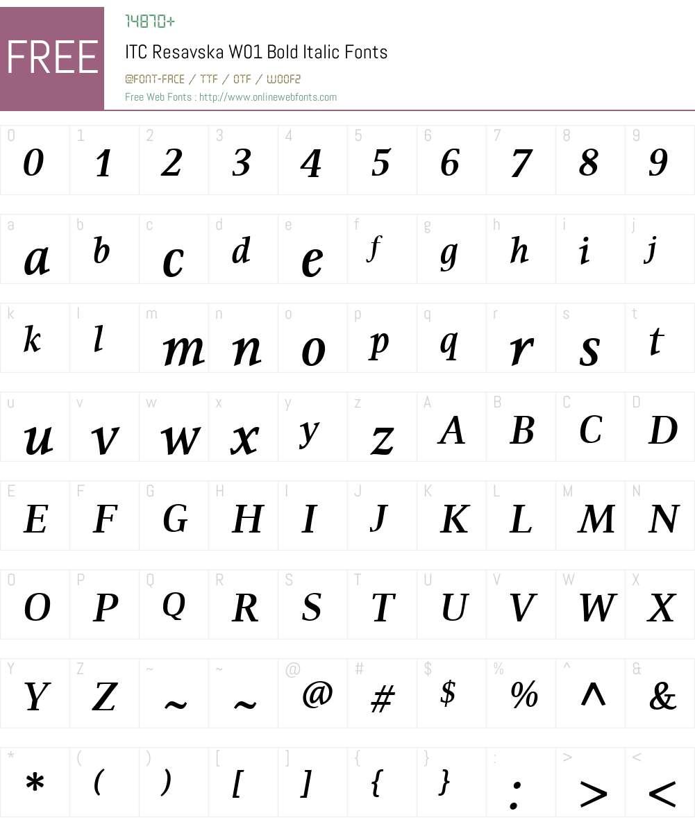 ITCResavskaW01-BoldItalic Font Screenshots
