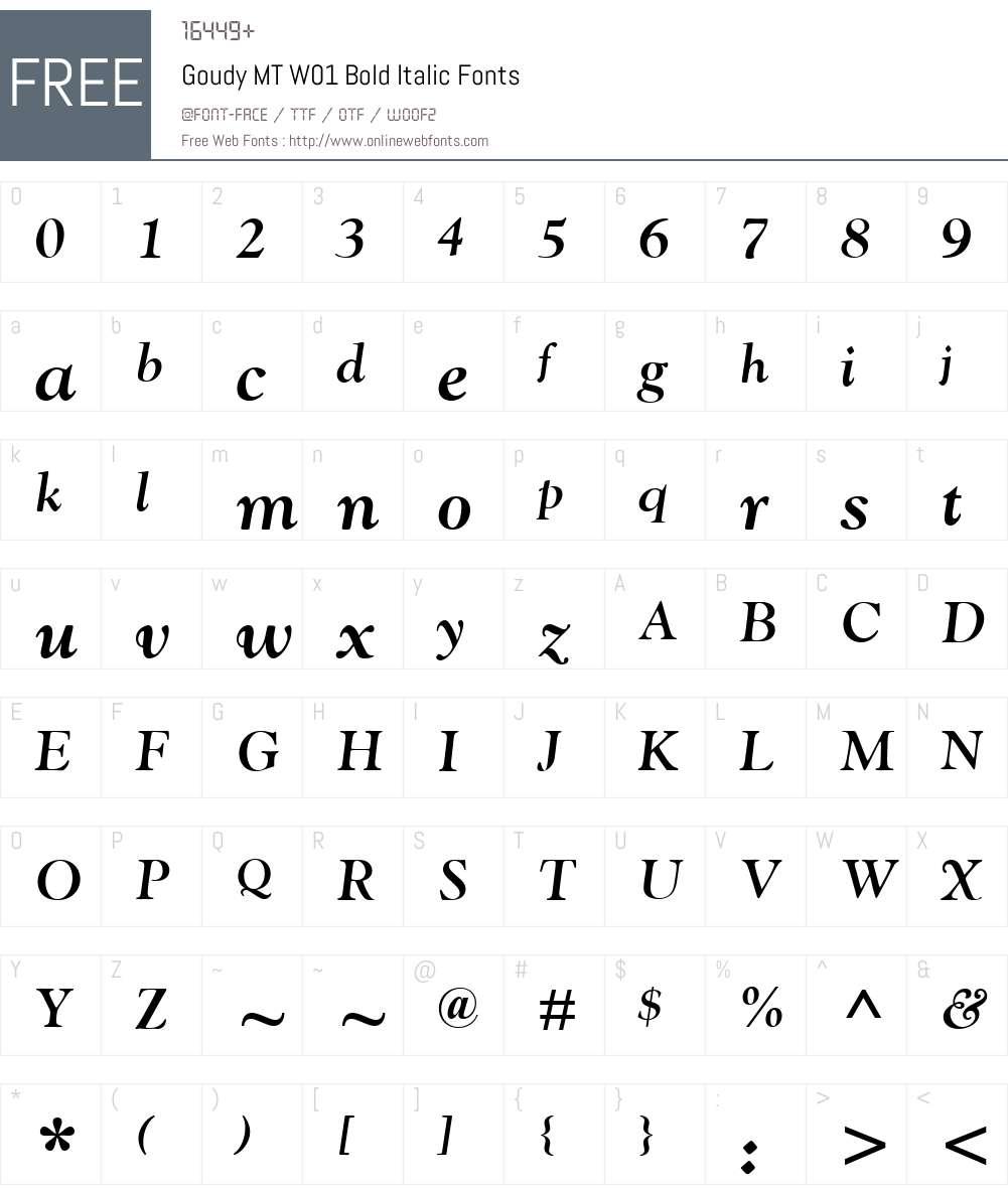 GoudyMTW01-BoldItalic Font Screenshots