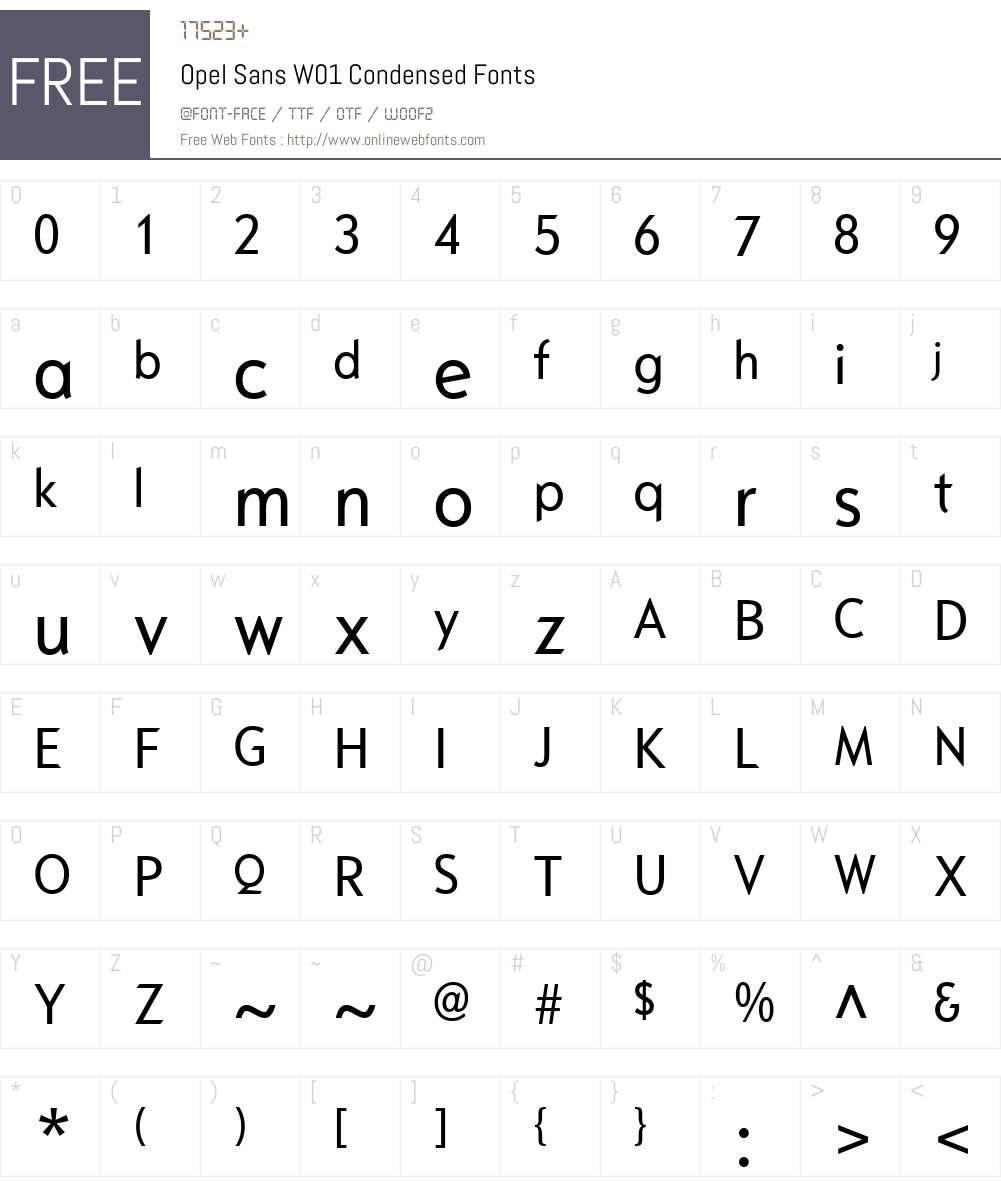 Opel Sans W01 Condensed Font Screenshots