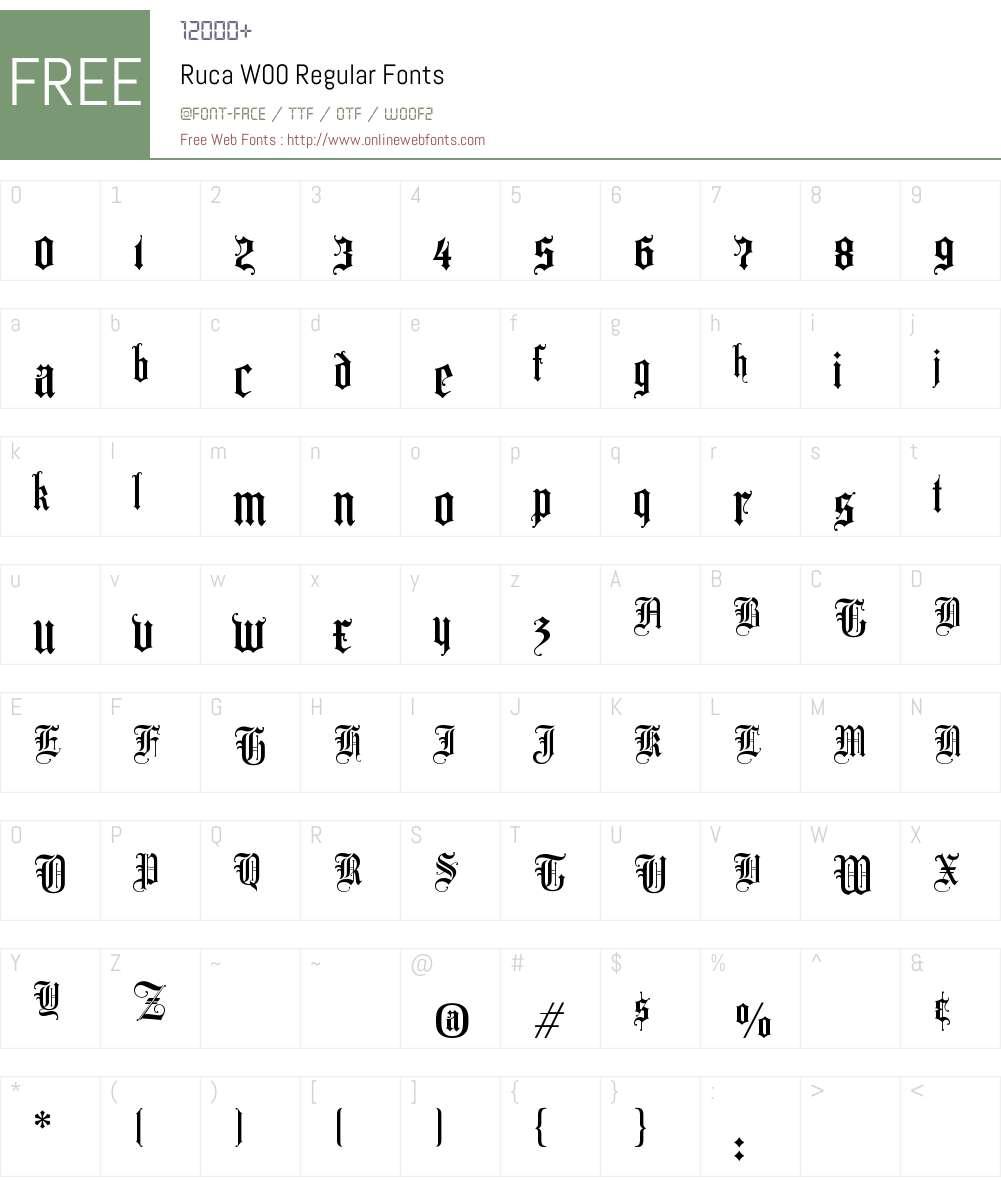 RucaW00-Regular Font Screenshots