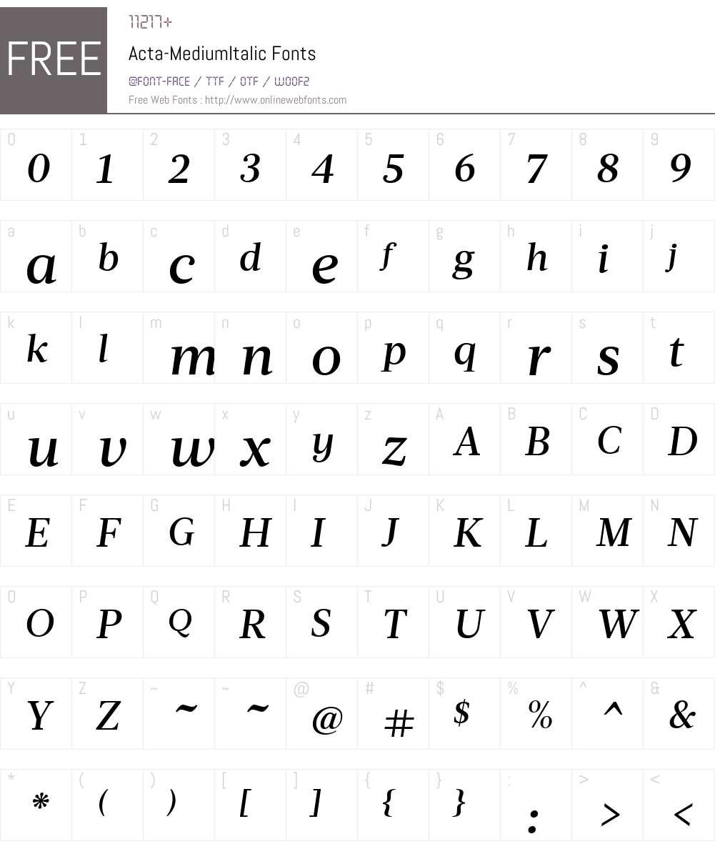 Acta-MediumItalic Font Screenshots