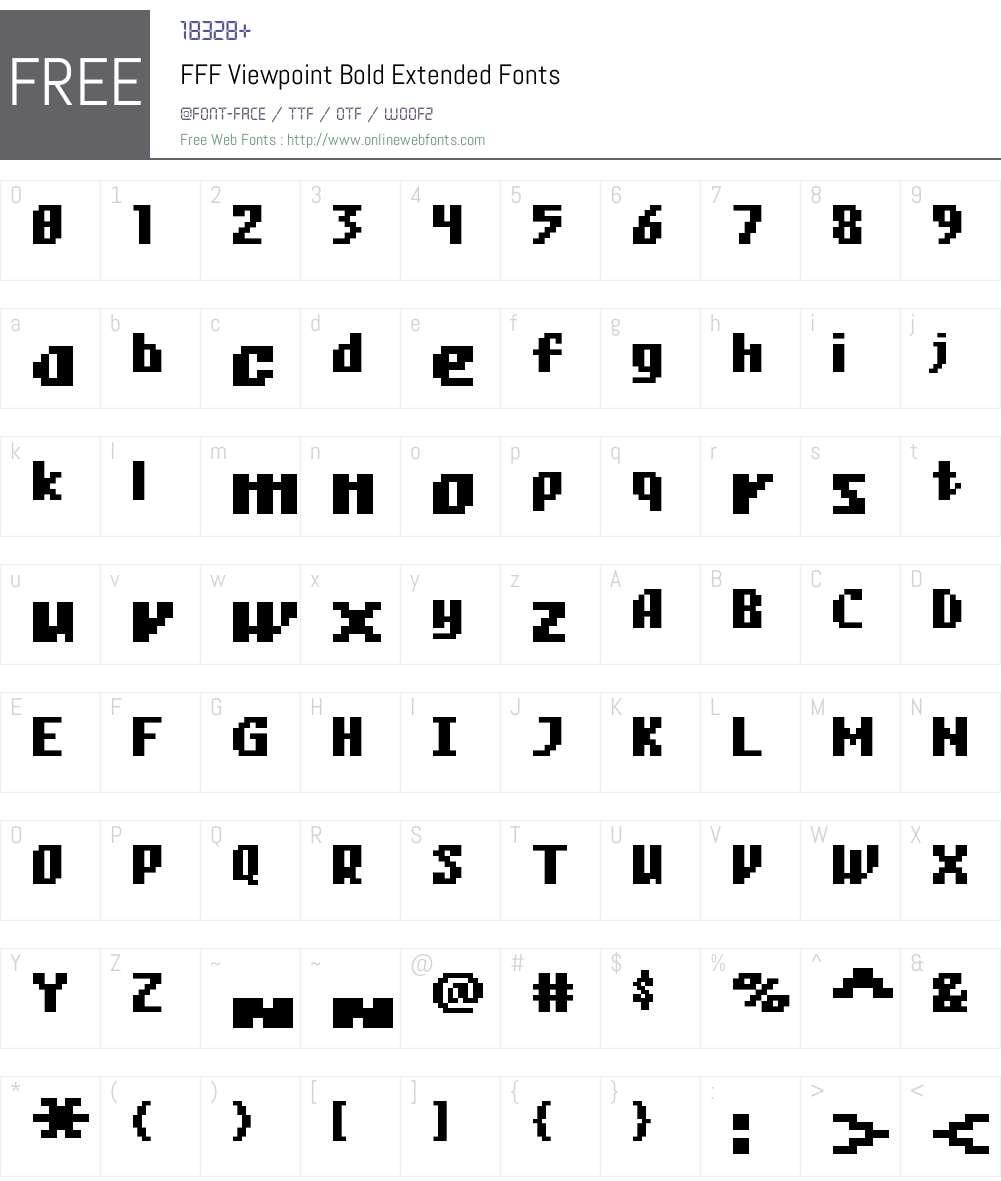 FFF Viewpoint Bold Extended Font Screenshots