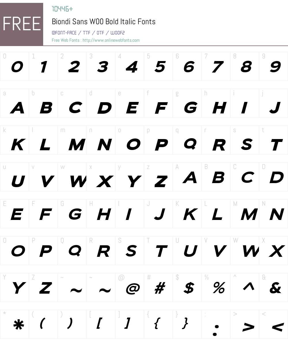 BiondiSansW00-BoldItalic Font Screenshots