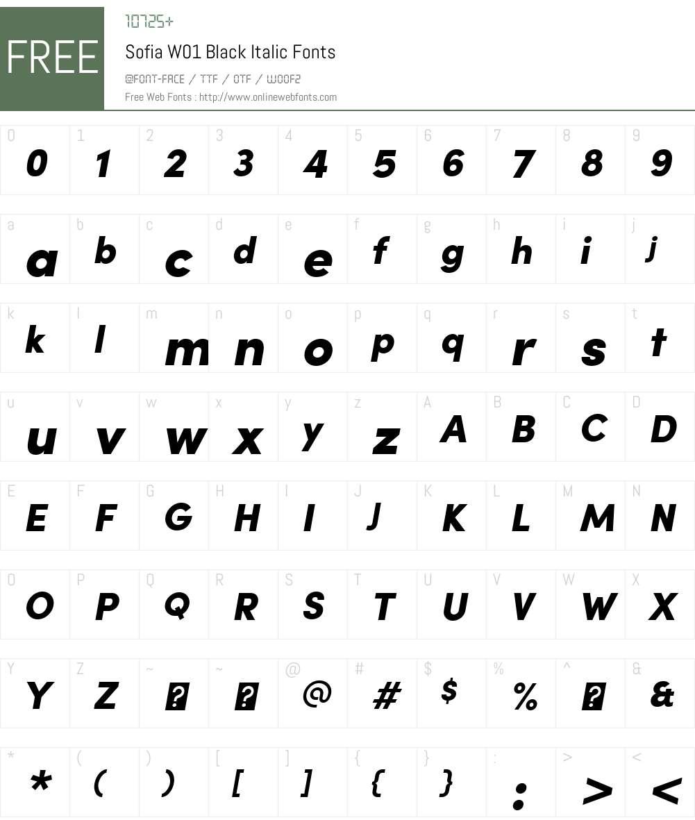 SofiaW01-BlackItalic Font Screenshots