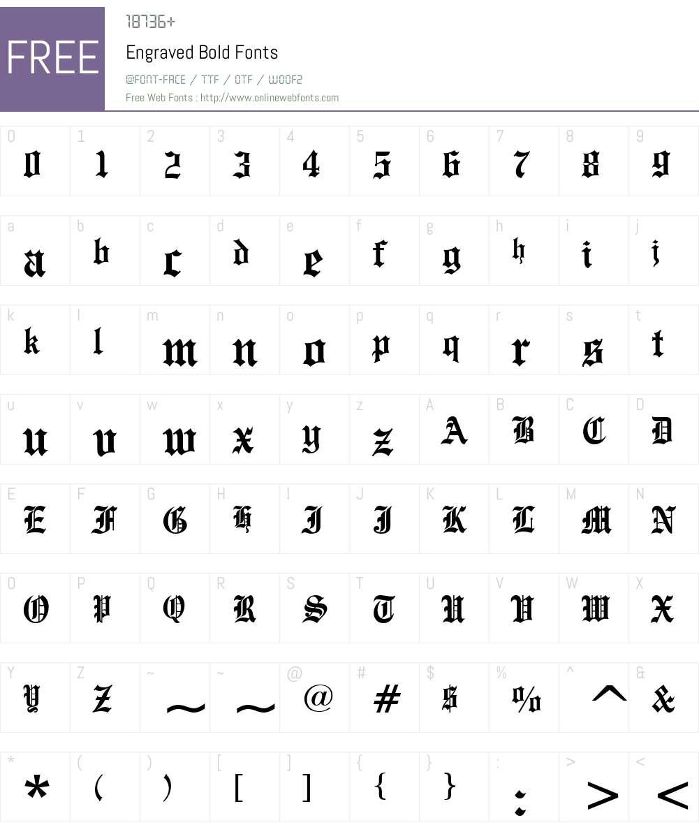Engraved Font Screenshots