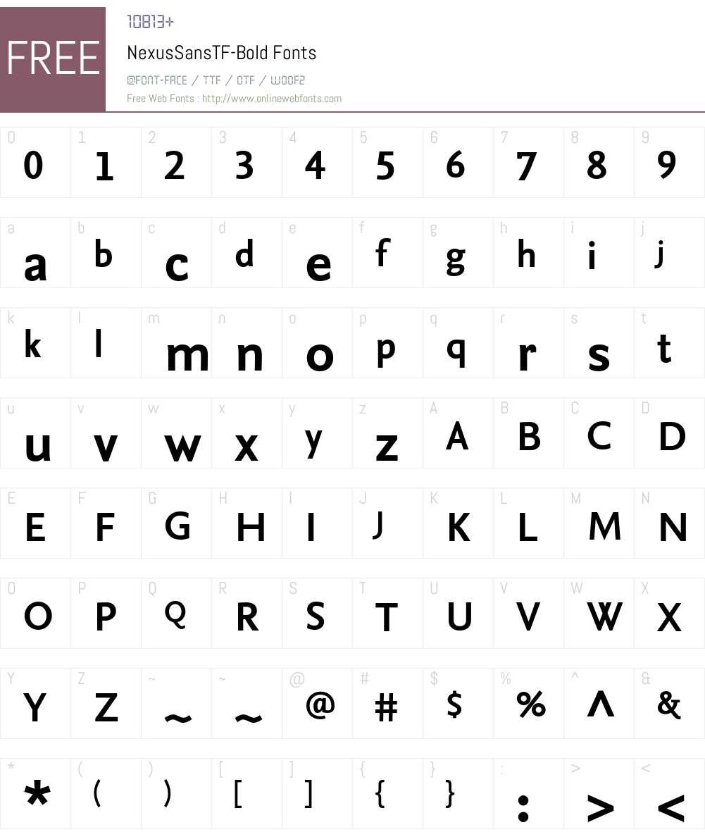 NexusSansTF-Bold Font Screenshots