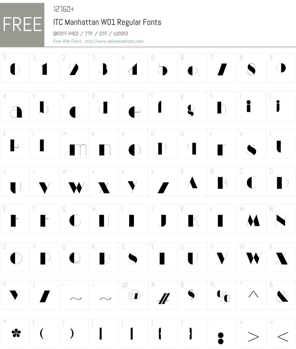 ITCManhattanW01-Regular Font Screenshots