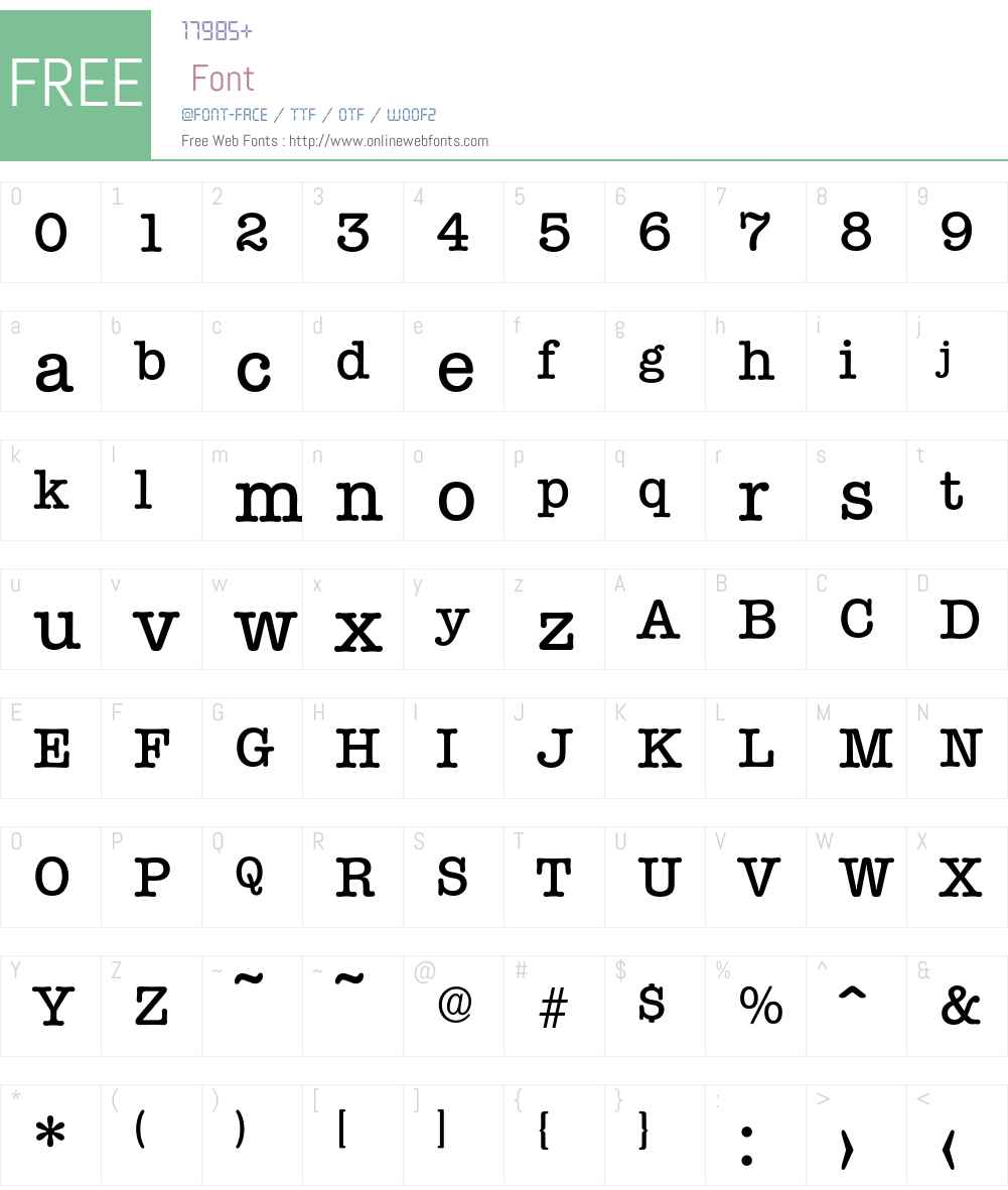 Typewriter-Medium Font Screenshots