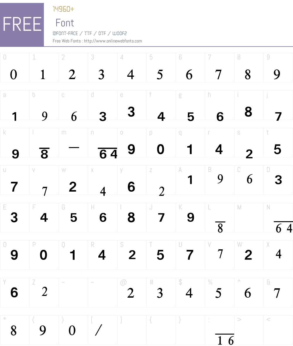 Numerics Font Screenshots