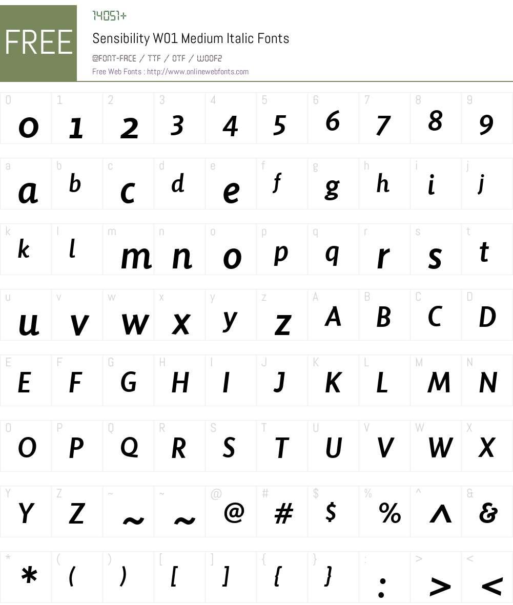 SensibilityW01-MediumItalic Font Screenshots