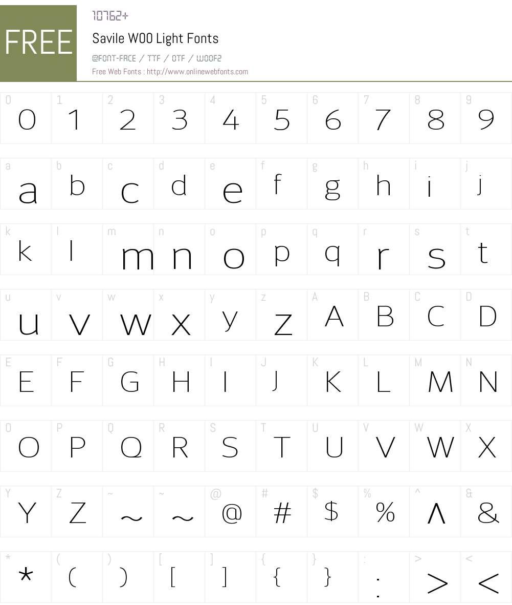 SavileW00-Light Font Screenshots