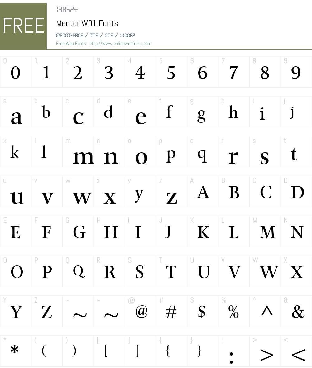MentorW01 Font Screenshots