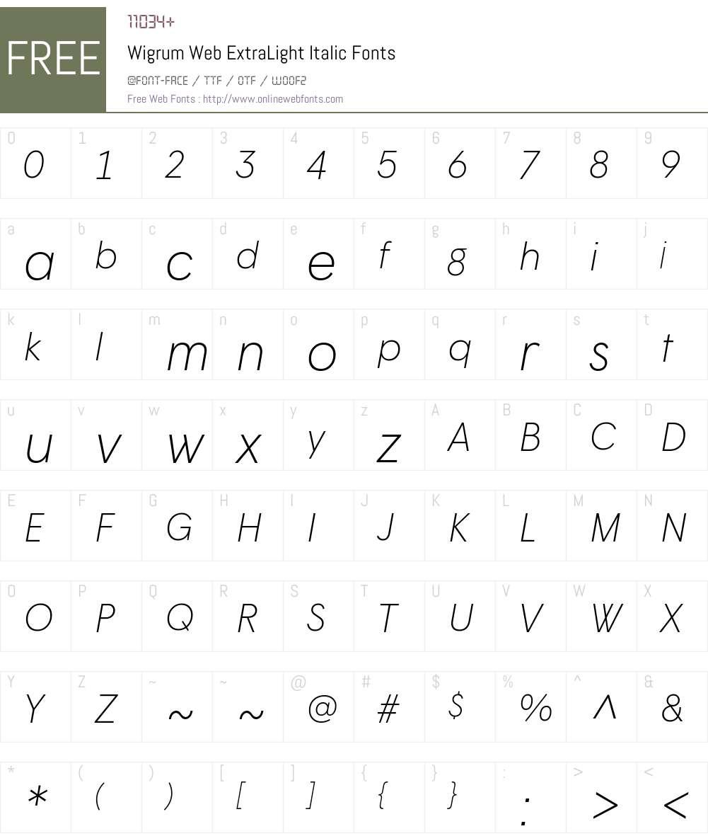 Wigrum Web ExtraLight Font Screenshots