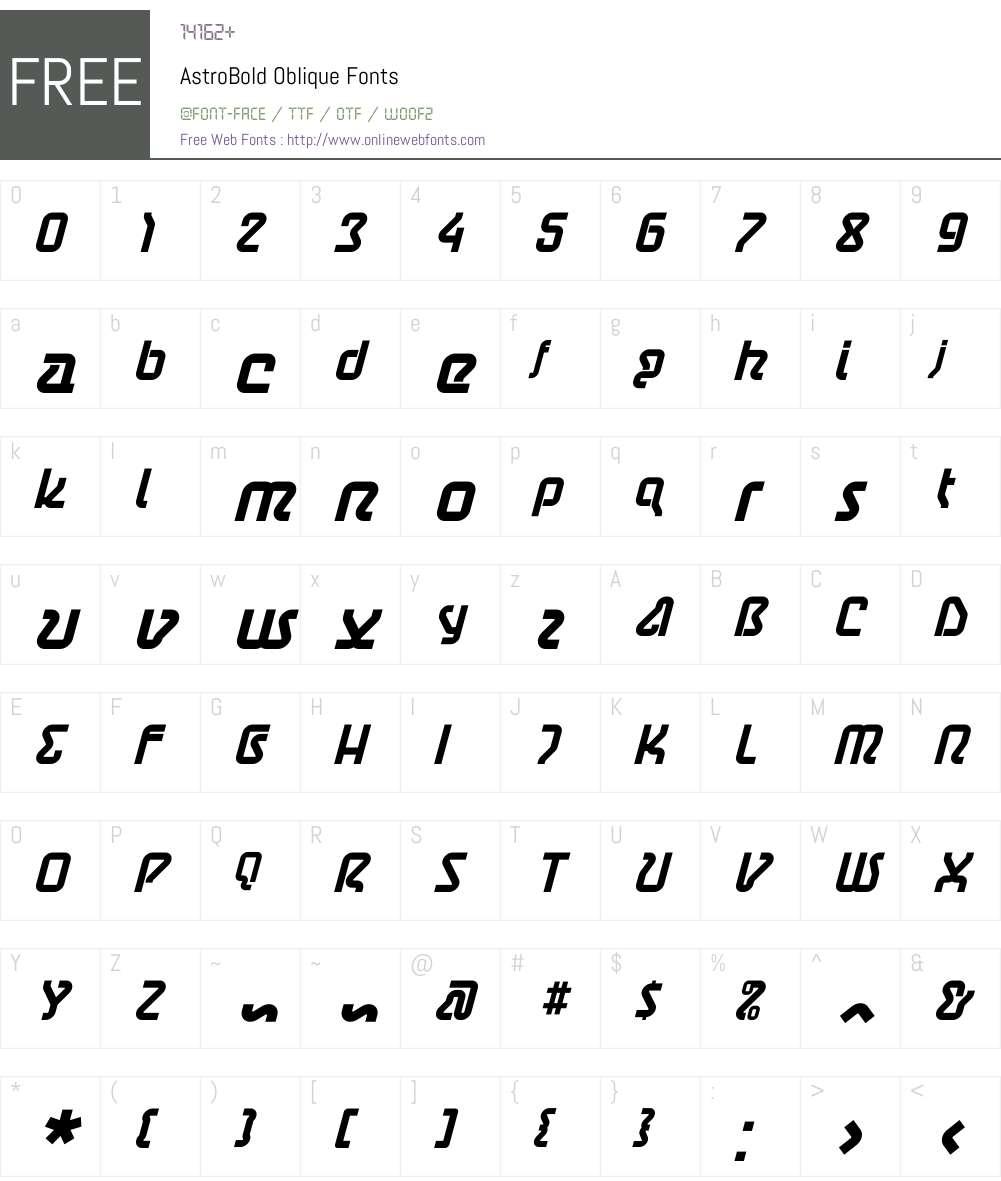 AstroBold Oblique Font Screenshots