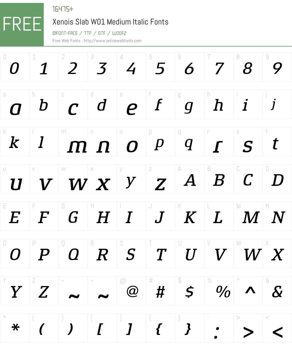 XenoisSlabW01-MediumItalic Font Screenshots