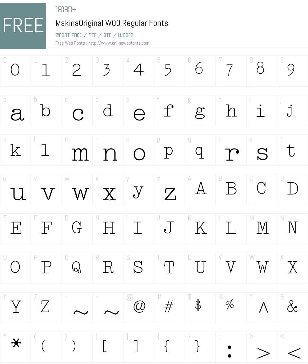 MakinaOriginalW00-Regular Font Screenshots