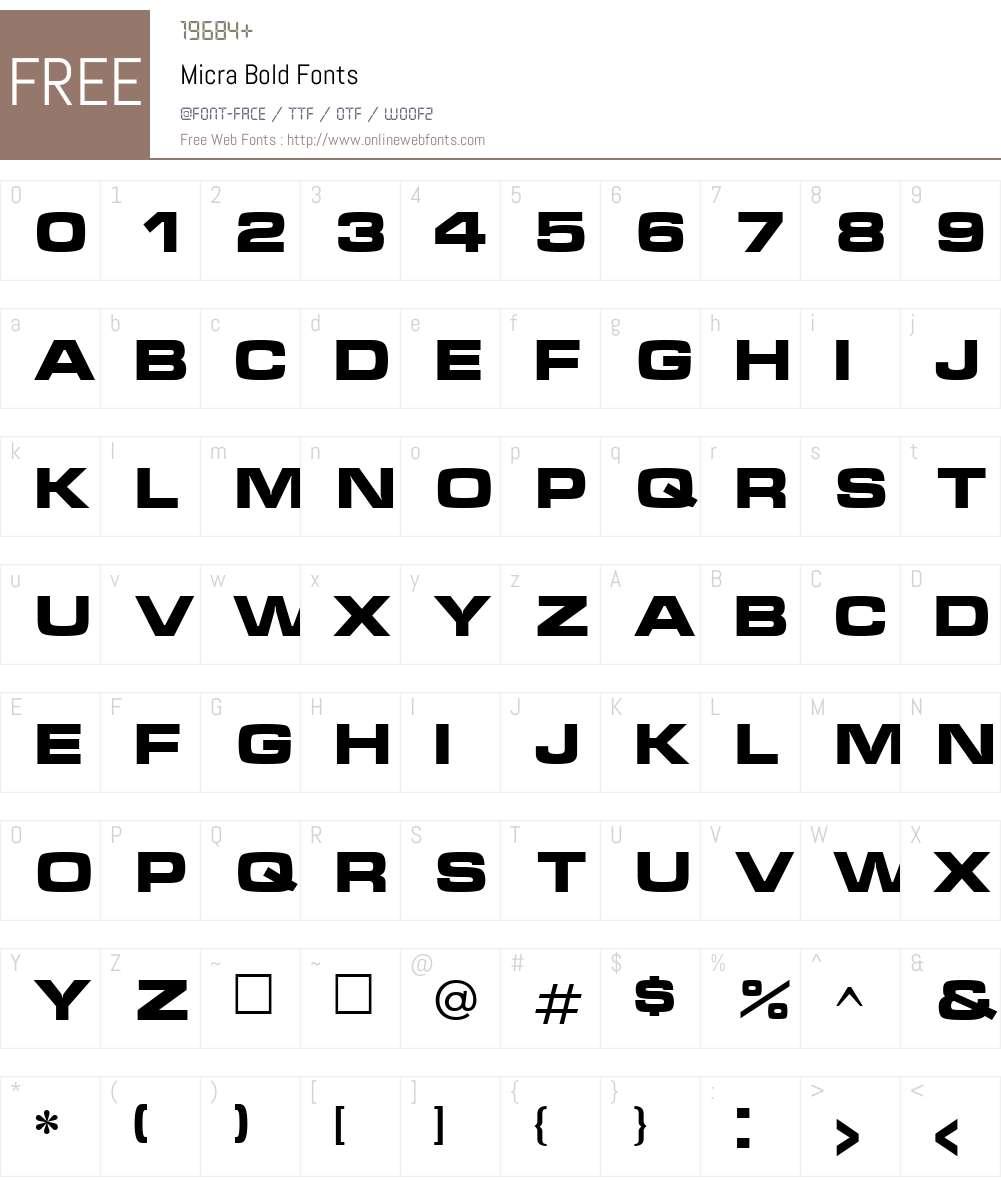 Micra Font Screenshots