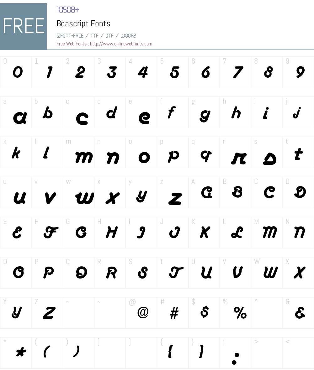 Boascript Font Screenshots
