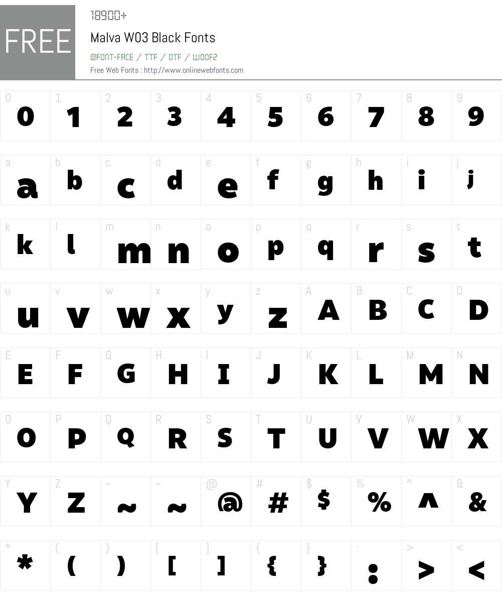 Malva Font Screenshots