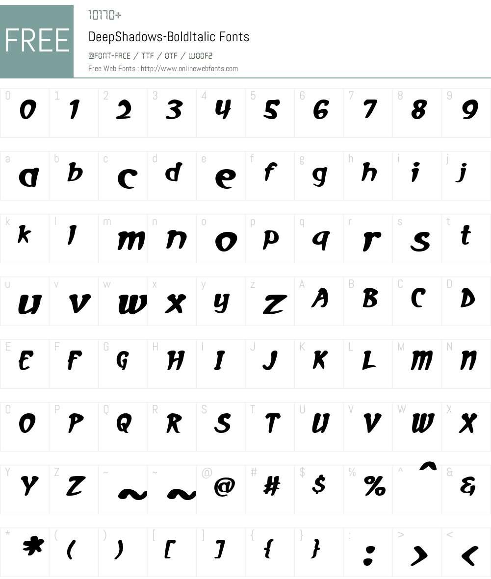 Deep Shadows Font Screenshots