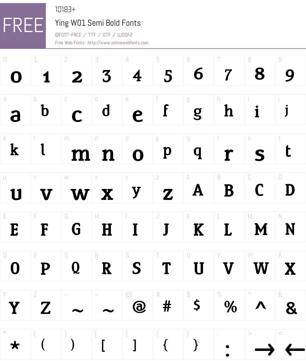 YingW01-SemiBold Font Screenshots