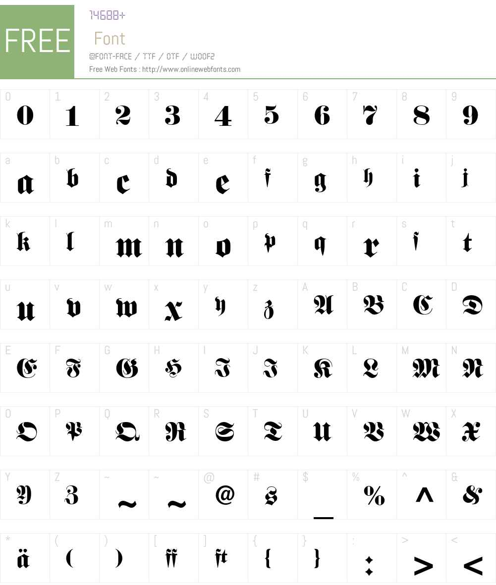 Fette Fraktur Font Screenshots