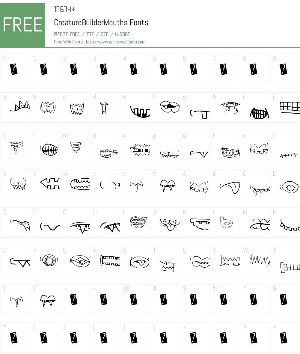 CreatureBuilderMouths Font Screenshots
