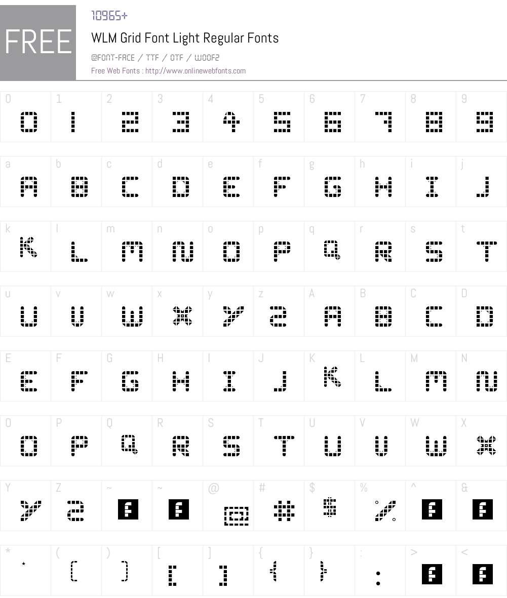 WLM Grid Font Light Font Screenshots